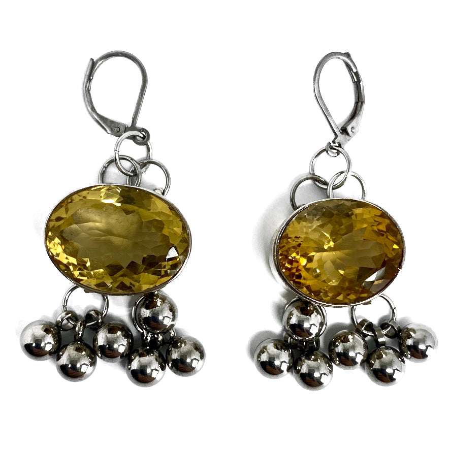 OVAL CITRINE FACETED STONE WITH CLUSTER OF STAINLESS STEEL BEADS EARRINGS by nyet jewelry.