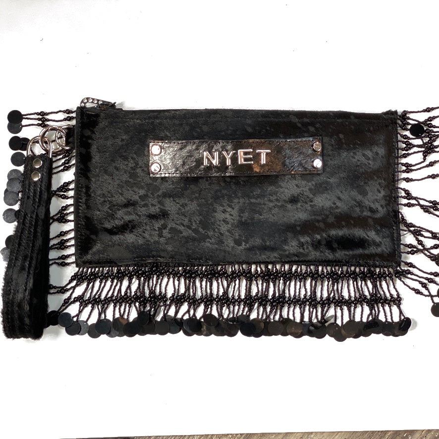 HAIR-ON COWHIDE AND FISH LEATHER ZIPPERED CLUTCH WITH DETACHABLE WRISLET AND NYET LOGO ON THE SIDE by nyet jewelry