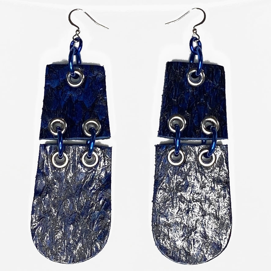 FISH LEATHER HINGED EARRINGS. By NYET Jewelry.