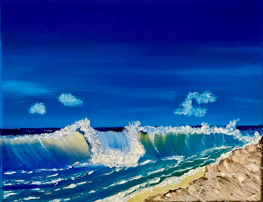 BIG WAVES ON STOCKING ISLAND PAINTING by Delphine Pontvieux