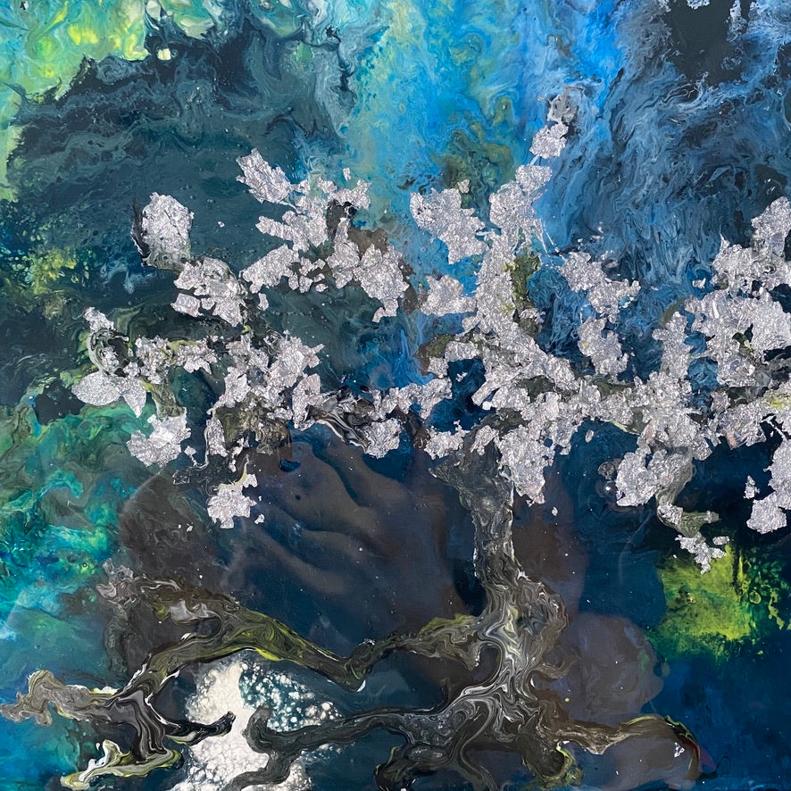 Cherry blossom tree in space painting by D. Pontvieux close up