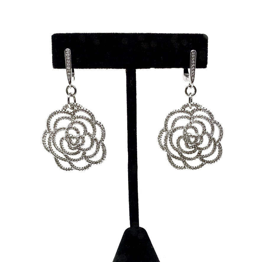 DROP EARRINGS WITH PAVE CUBIC ZIRCONIA. by NYET Jewelry