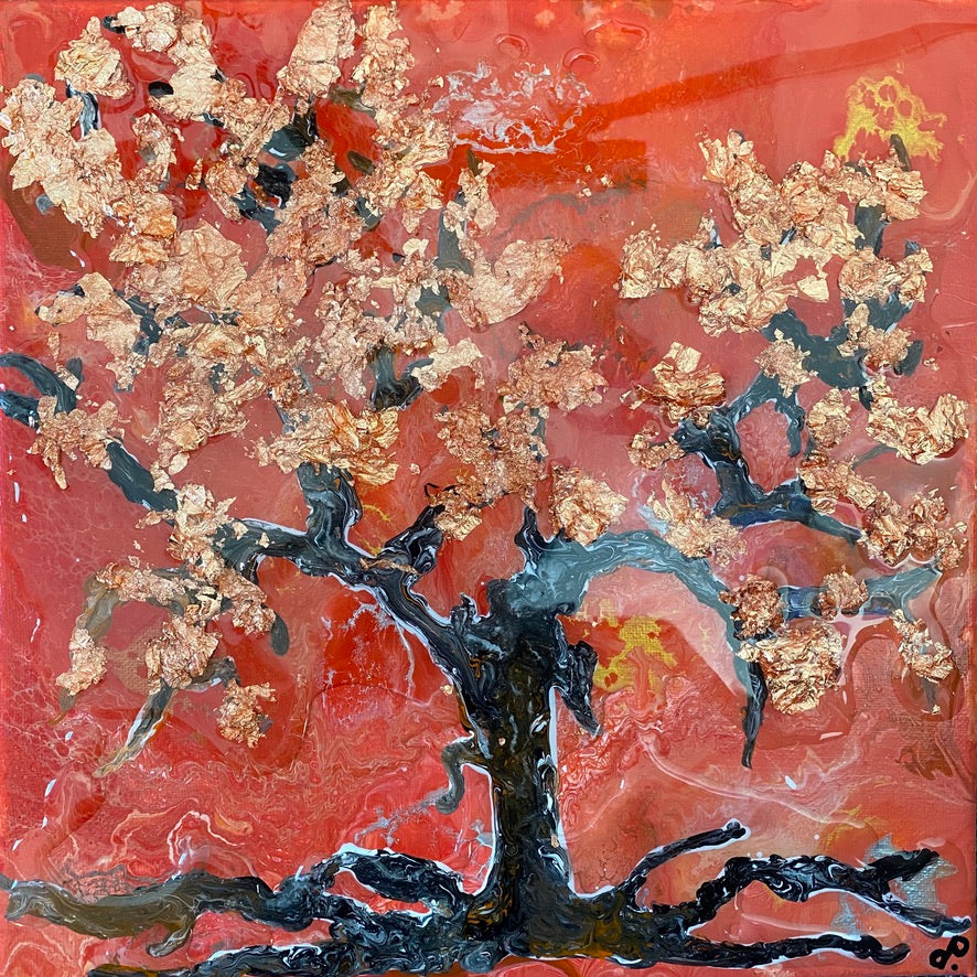 Cherry blossom tree in a bushfire acrylic painting by D pontvieux