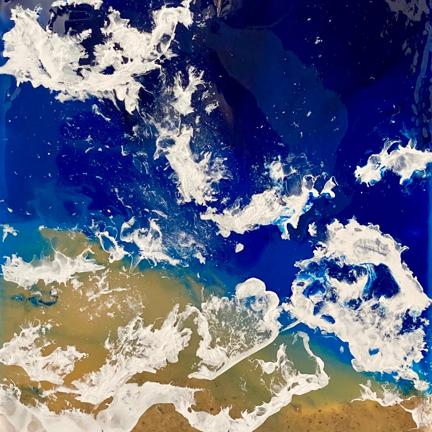 DESERT AND SEA FROM SPACE PAINTING. by delphine pontvieux  Edit alt text