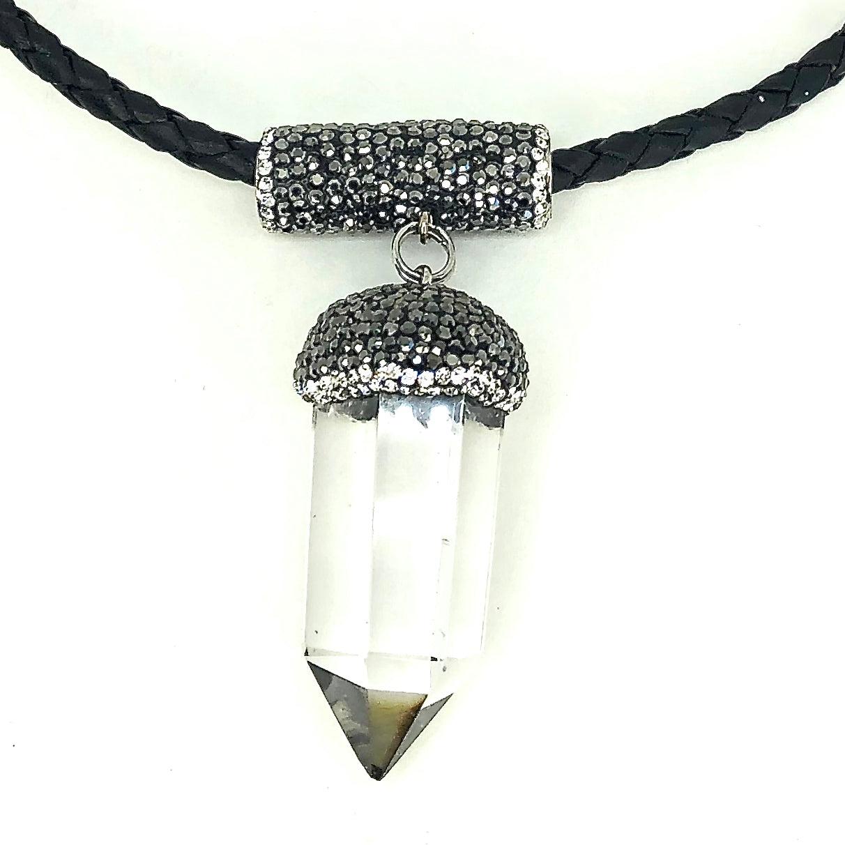 5 MM ROUND LEATHER NECKLACE WITH CLEAR QUARTZ STONE PENDANT AND RHINESTONES. by nyet jewelry.