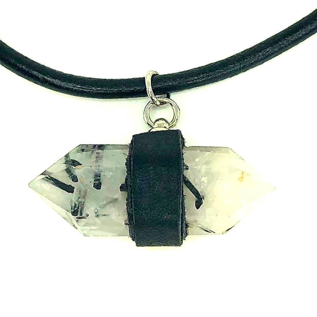 5 MM ROUND LEATHER NECKLACE WITH TOURMALINATED QUARTZ STONE AND DEERSKIN LEATHER PENDANT. by nyet jewelry.