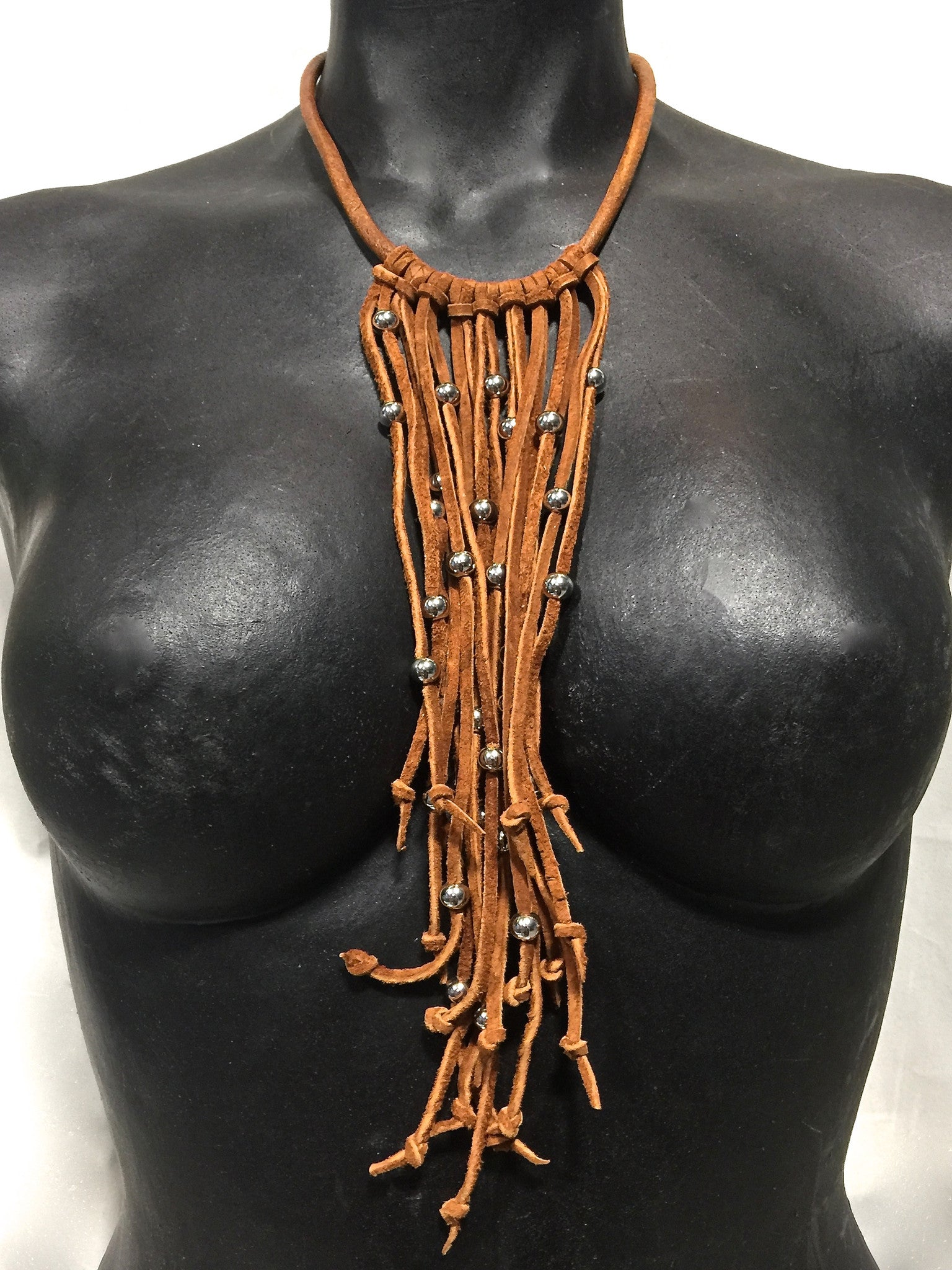 Pinball leather and suede choker necklace Rust by nyet jewelry.