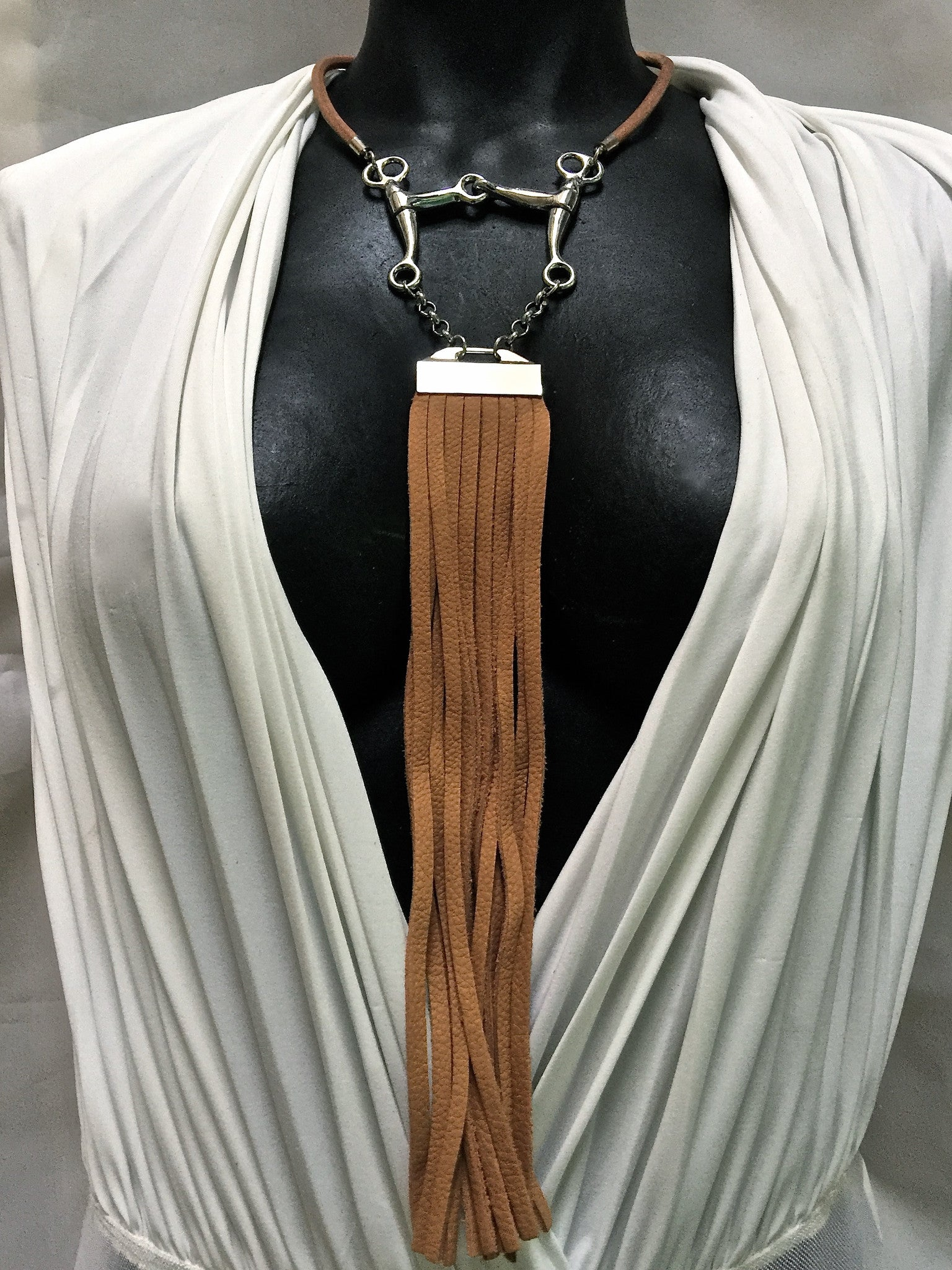 TAN LEATHER CHOKER NECKLACE WITH PELHAM HORSE BIT PENDANT AND LONG DEERSKIN LEATHER FRINGE by nyet jewelry.
