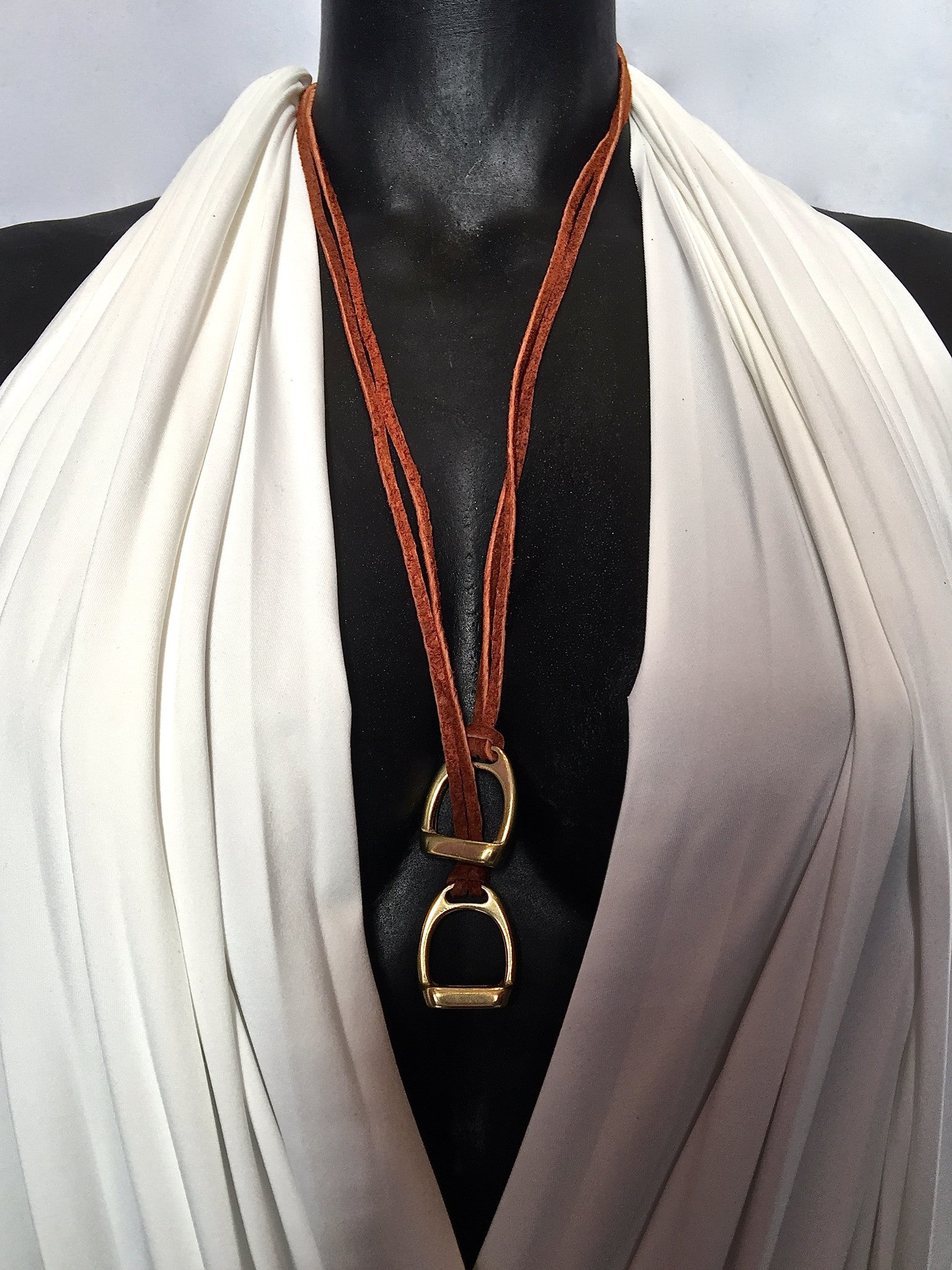 Double Stirrup Suede Necklace by nyet jewelry.