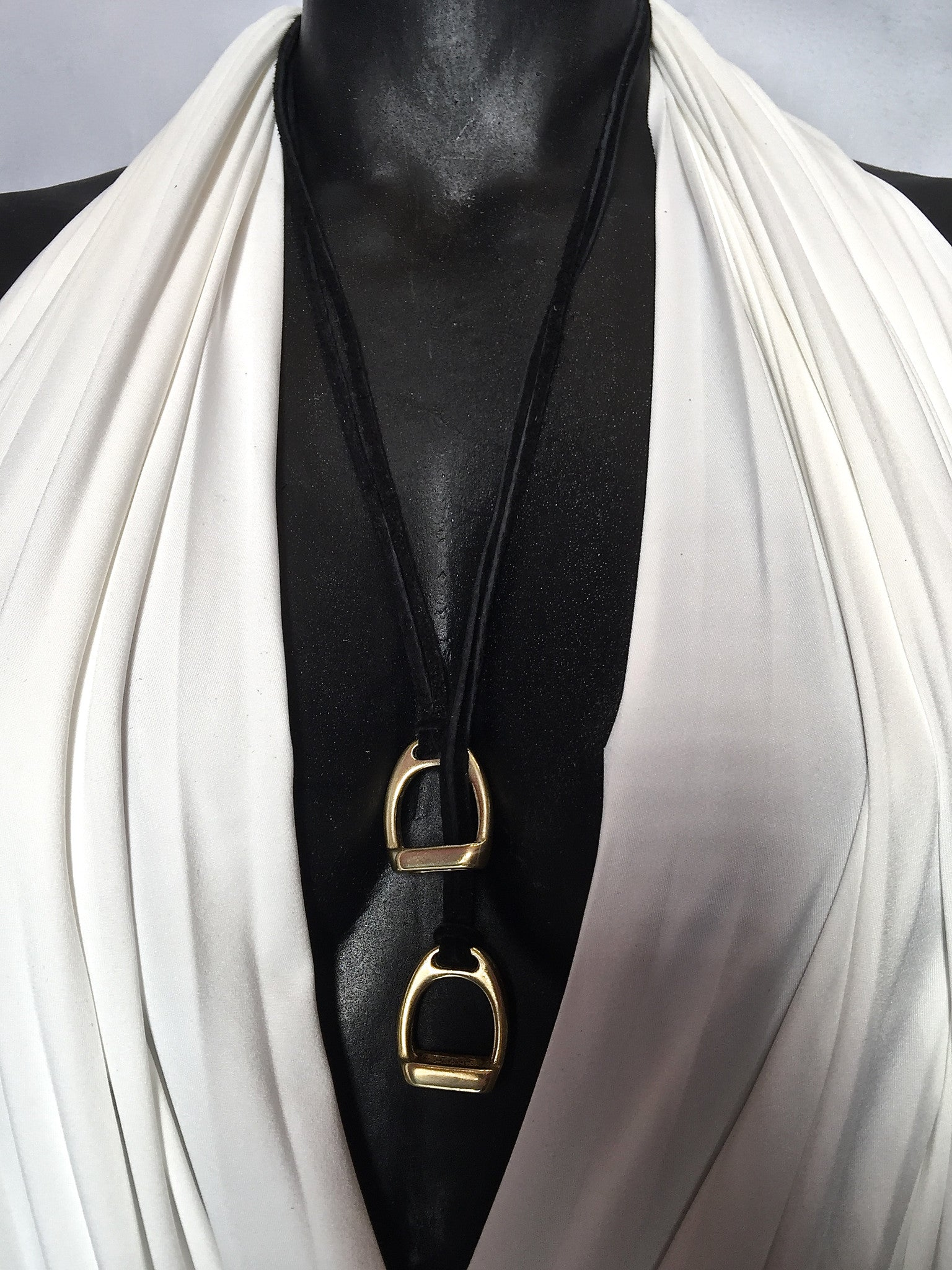Double Stirrup Suede Necklace by nyet jewelry