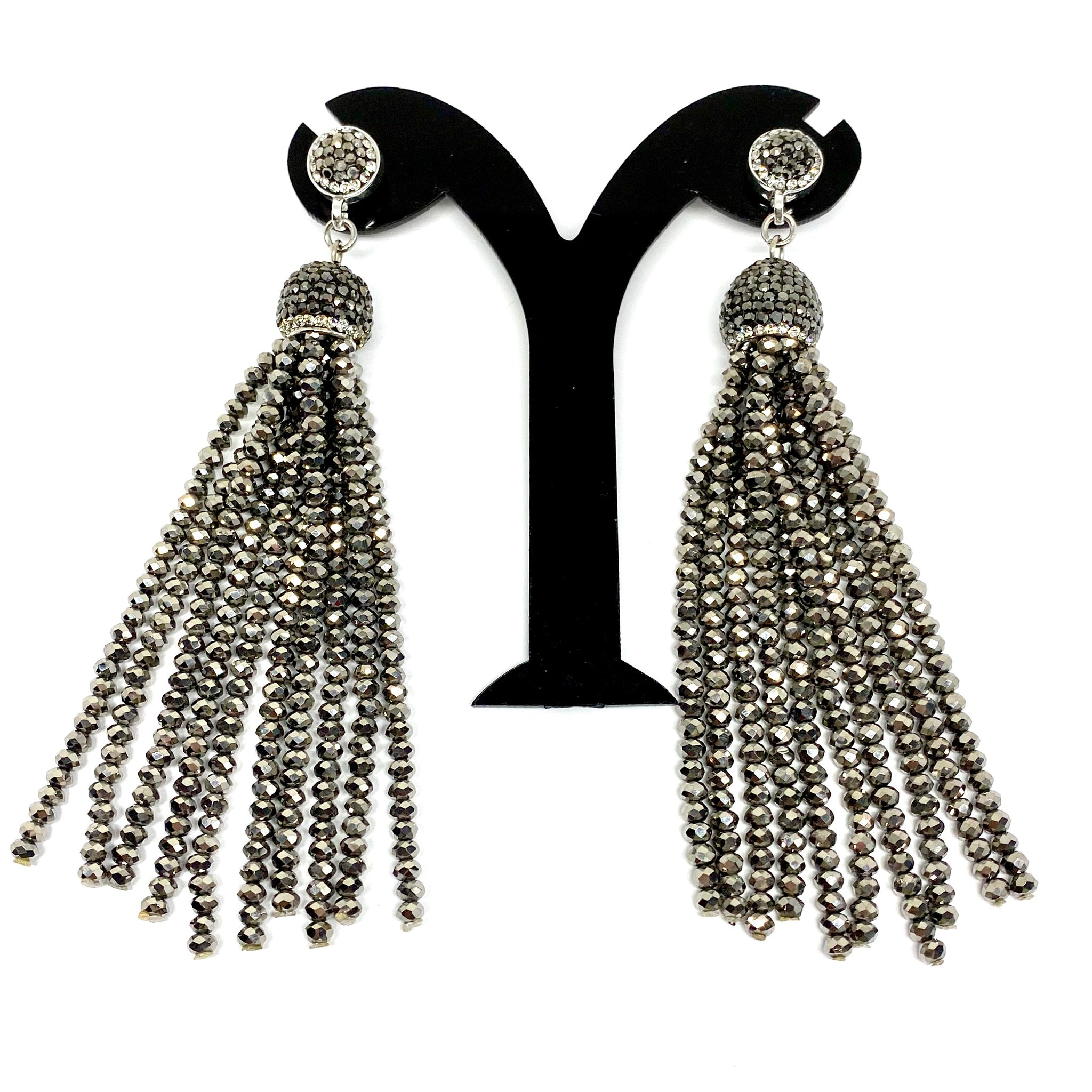 DROP PENDENT EARRINGS WITH LONG CRYSTAL TASSELS AND AUSTRIAN CRYSTALS THROUGHOUT by nyet jewelry.