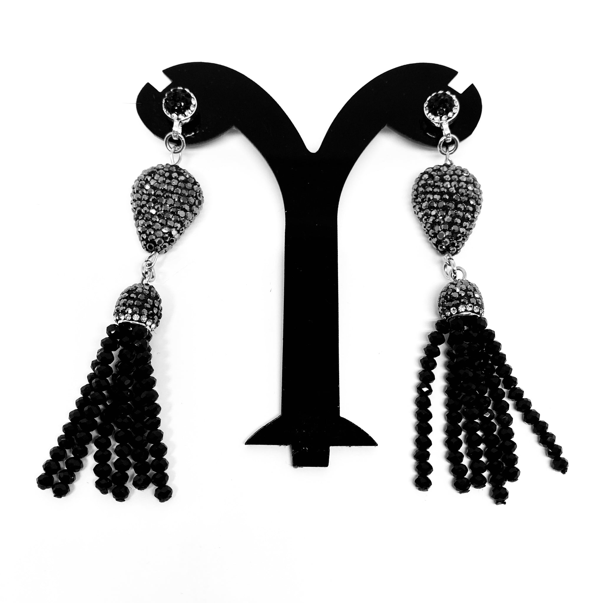 DROP PENDENT EARRINGS WITH CRYSTAL TASSELS AND AUSTRIAN CRYSTALS THROUGHOUT by nyet jewelry.