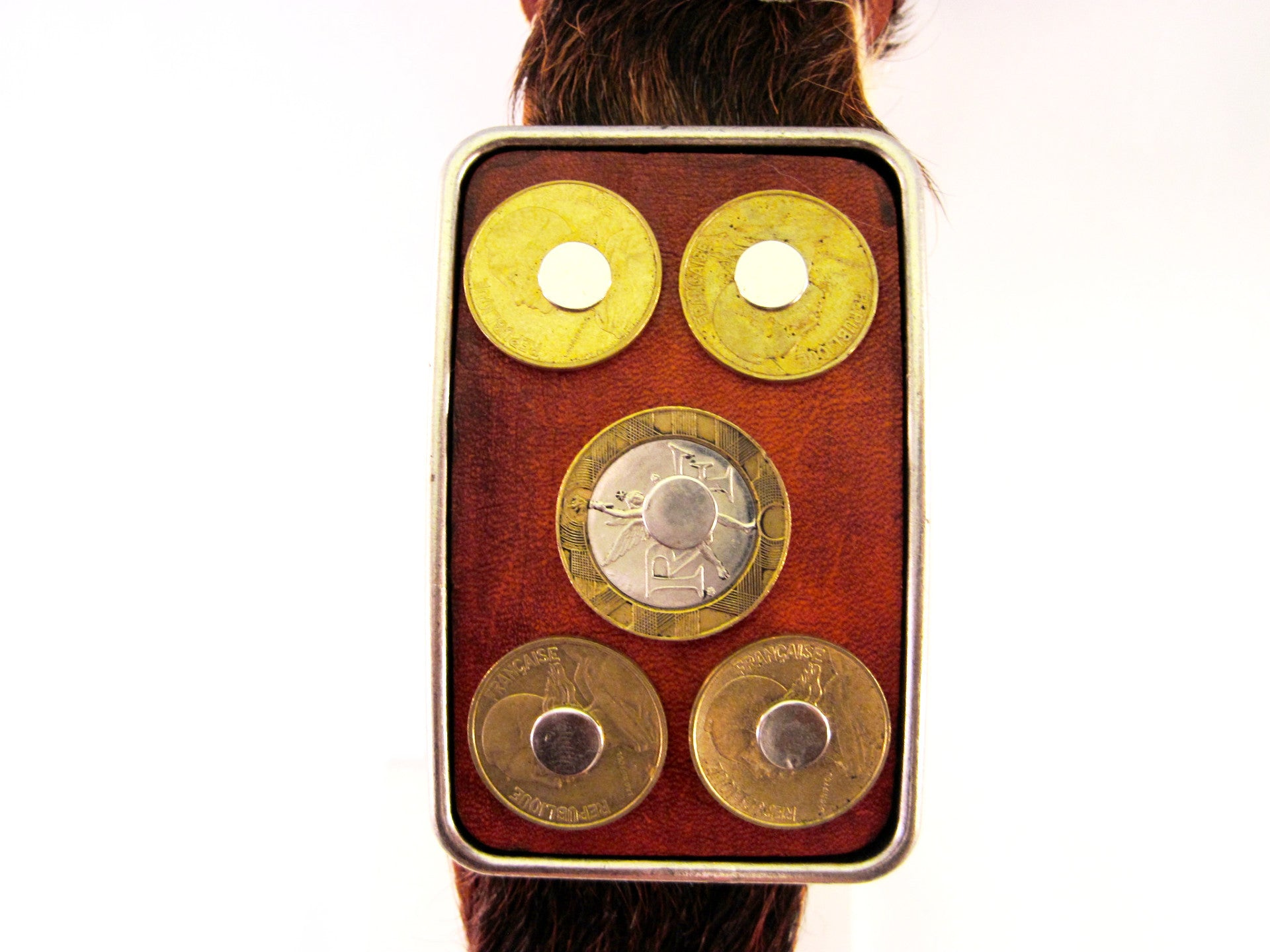 HAIR-ON COWHIDE BELT WITH STUDDED FRENCH FRANC COINS ON THE BUCKLE by NYET Jewelry.