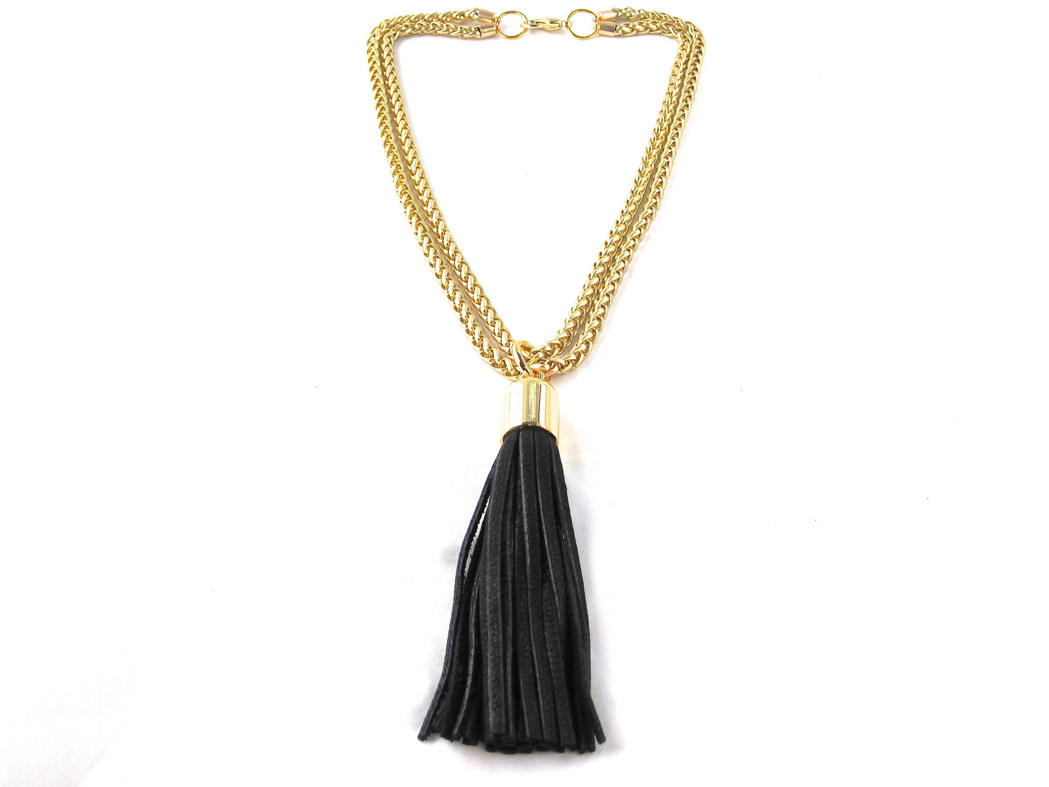 STAINLESS STEEL CHAINS AND LARGE DEERSKIN LEATHER TASSEL NECKLACE  by nyet jewelry.