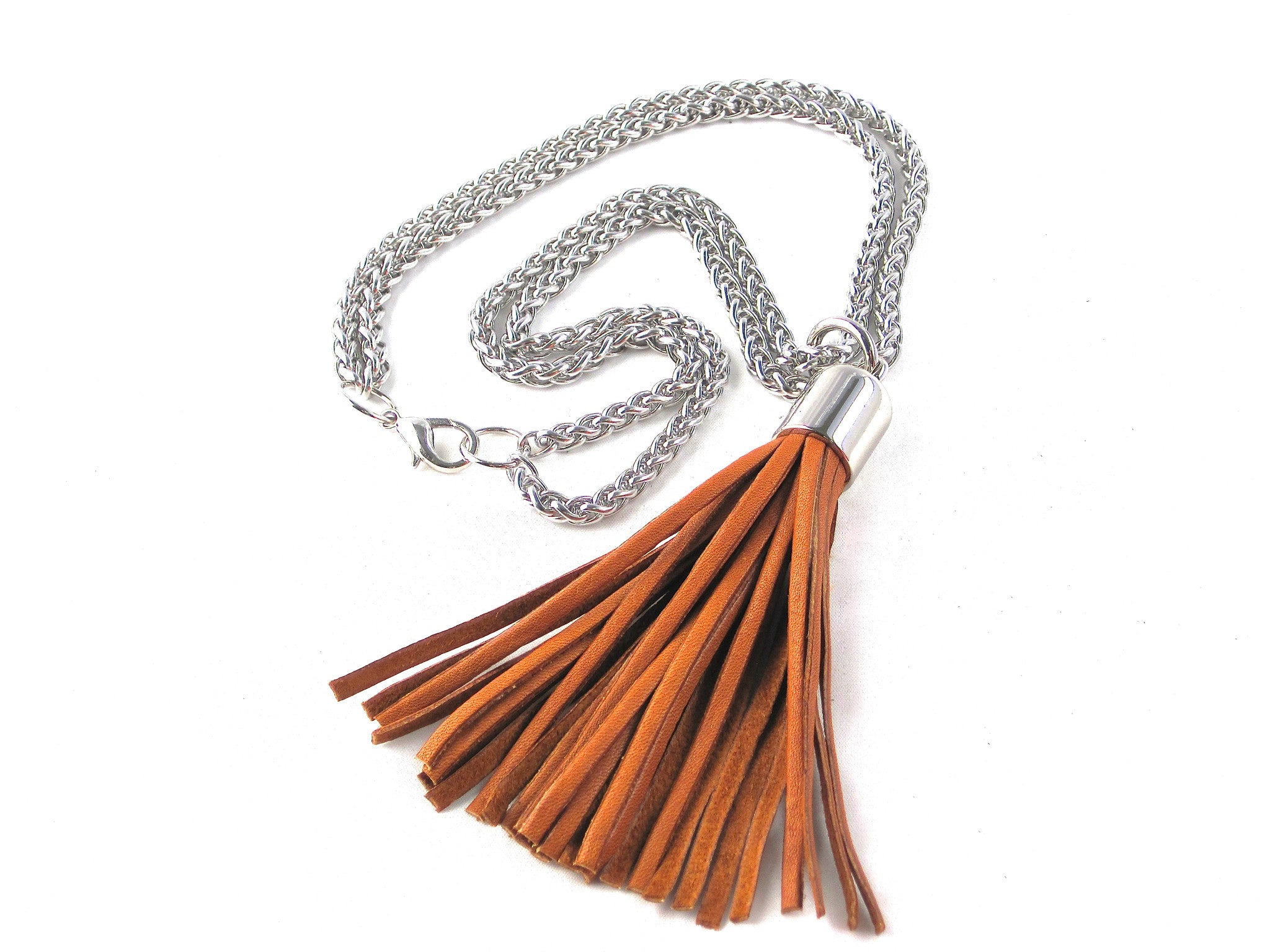 Whiplash leather tassel necklace gold leather