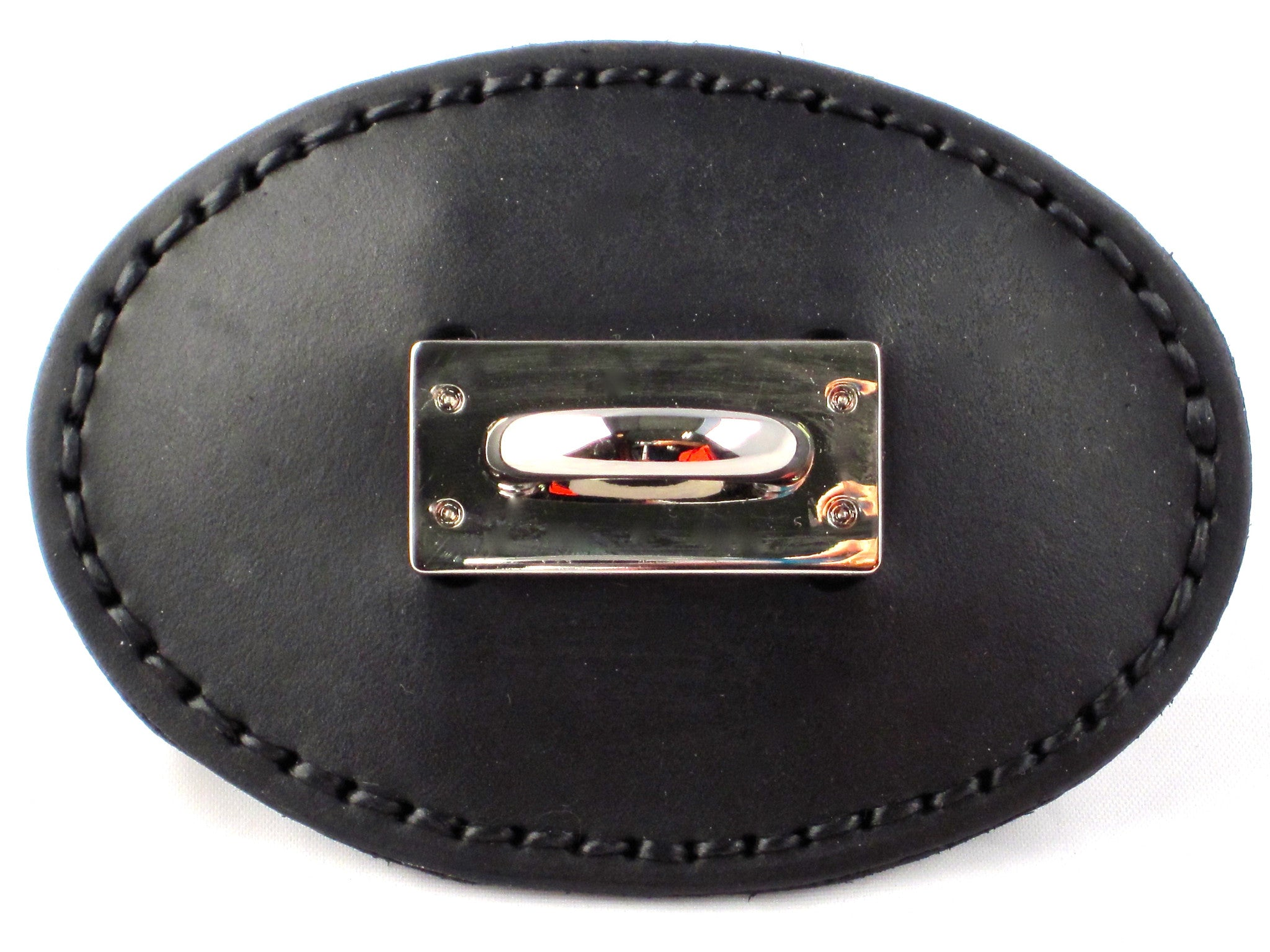 HAND-STITCHED LEATHER BUCKLE ADORNED WITH A STAPLE PLATE  by NYET Jewelry.