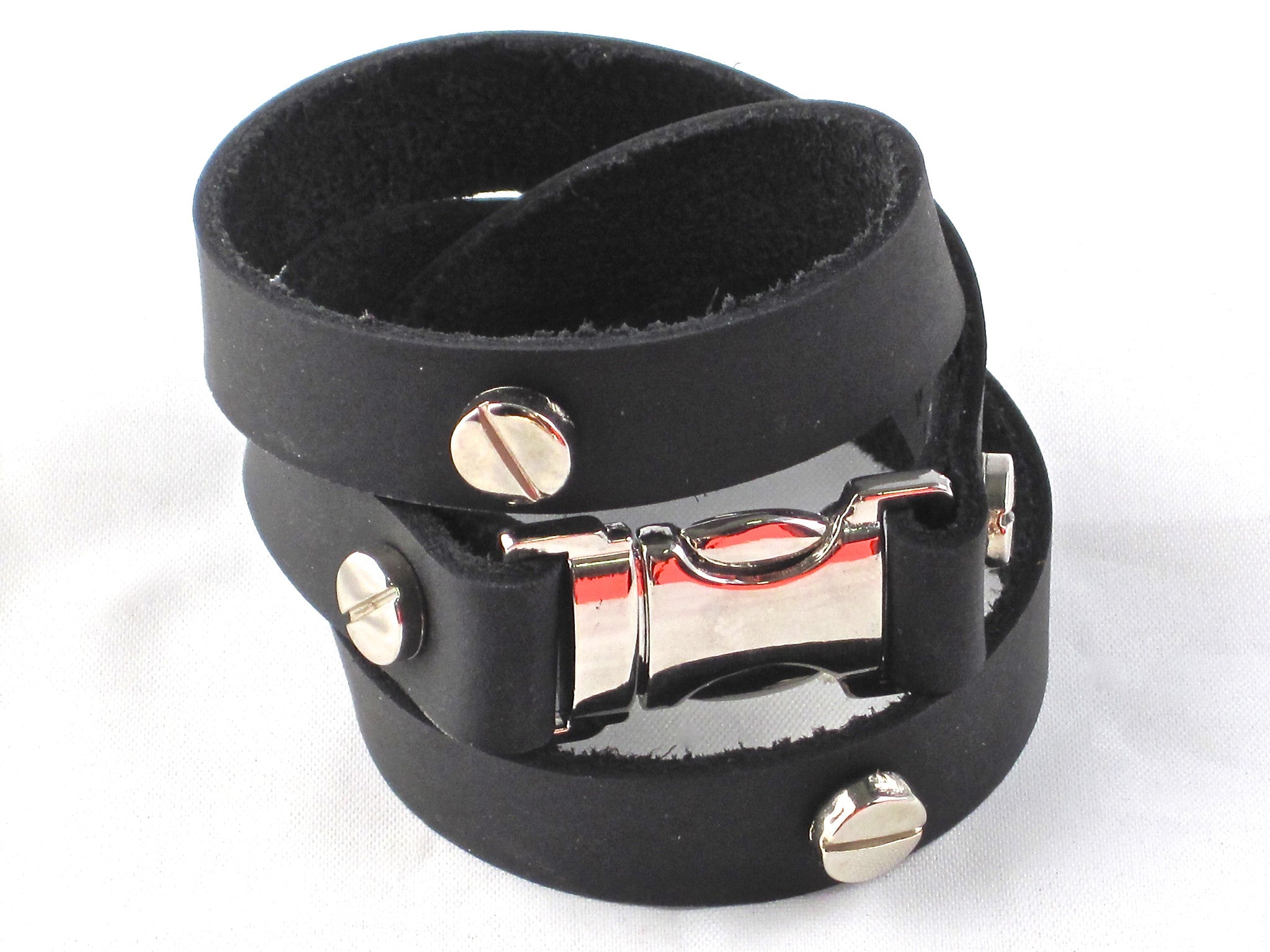 Quicksnap triple leather wraparound bracelet black leather by NYET jewelry