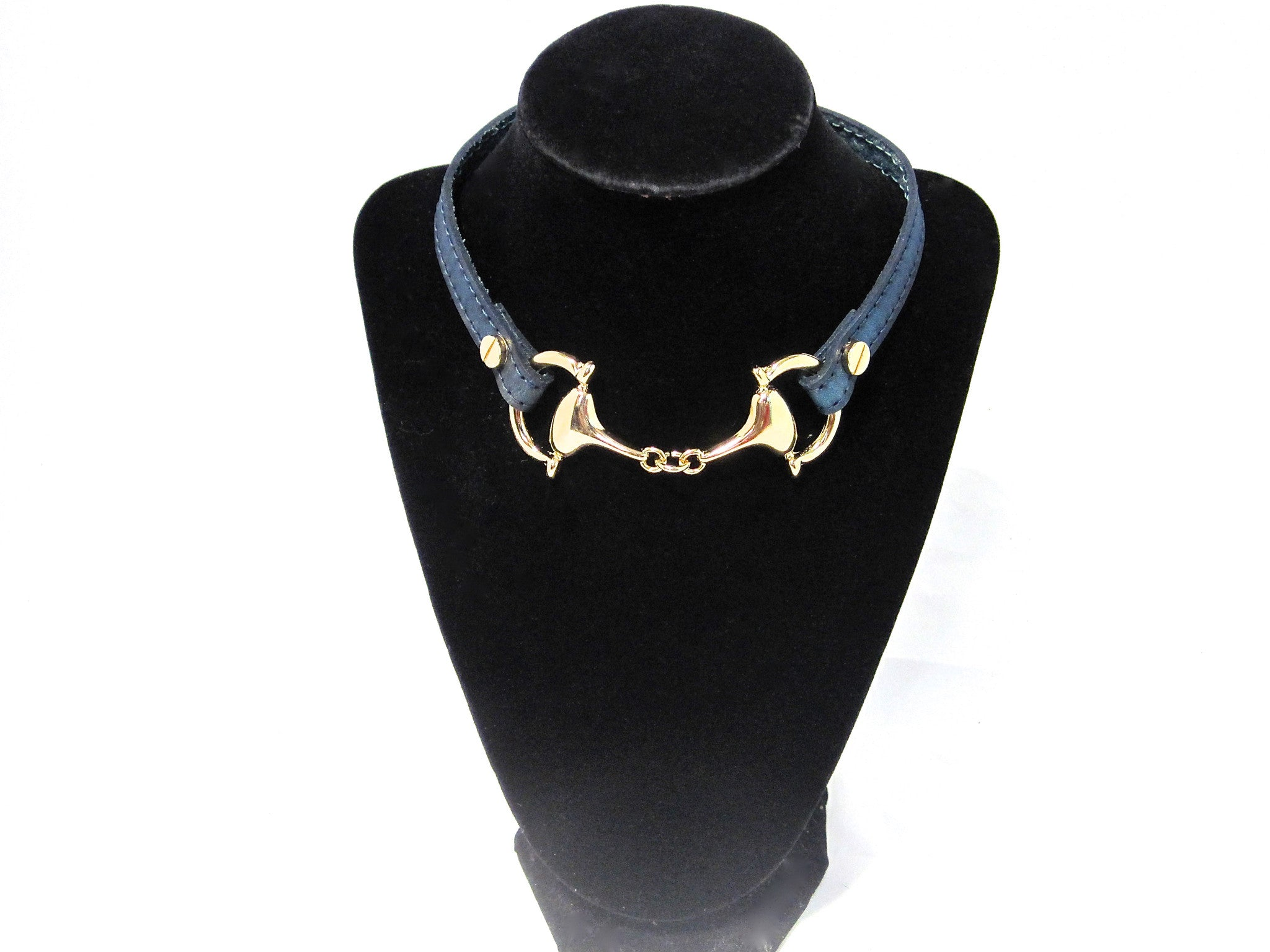 LEATHER CHOKER NECKLACE WITH D-RING HORSE BIT PENDANT by nyet jewelry