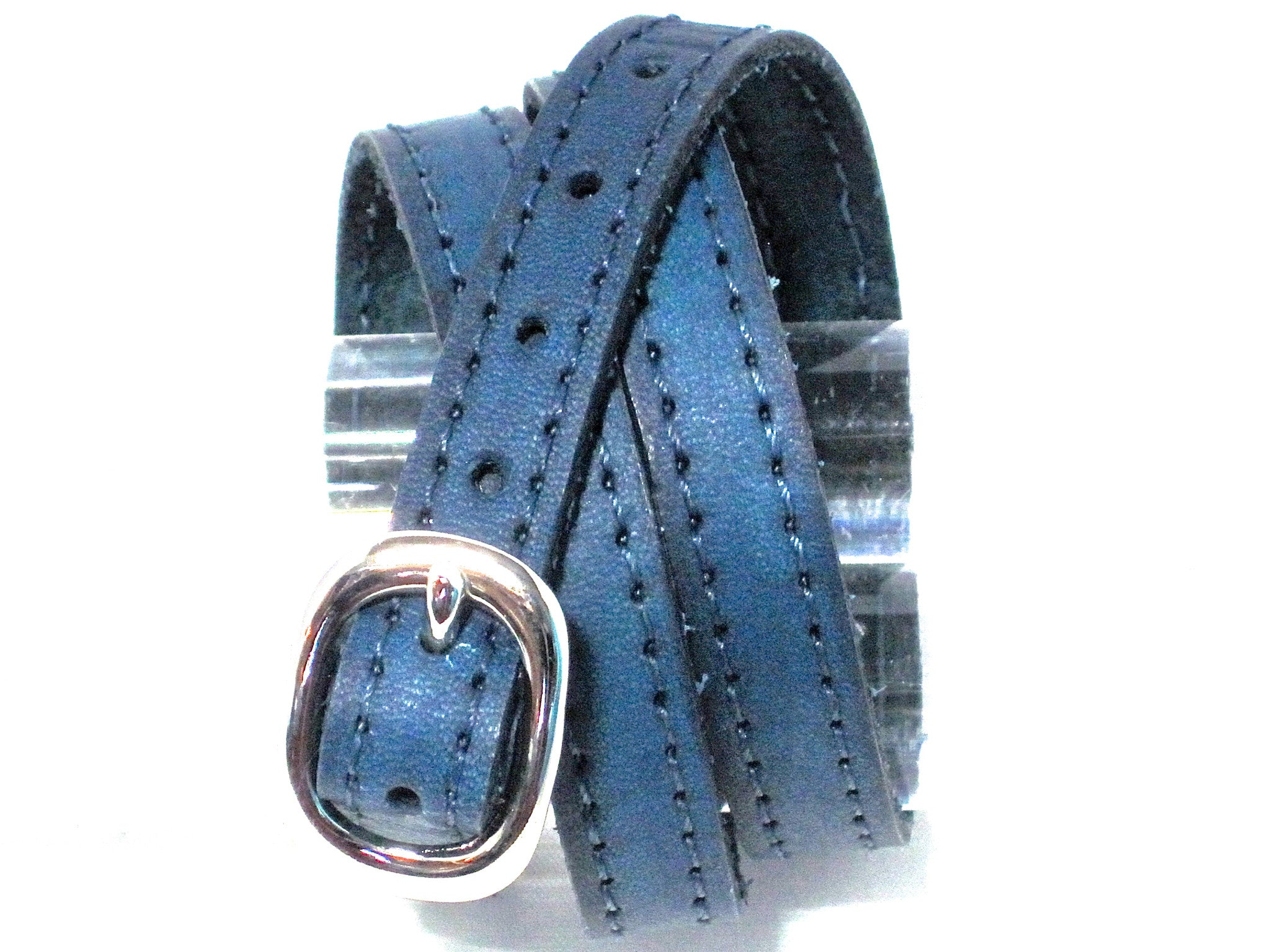 TRIPLE WRAPAROUND LEATHER BRACELET WITH COACHMAN LOOP AND TWISTED ANCHOR SHACKLE  by nyet jewelry.