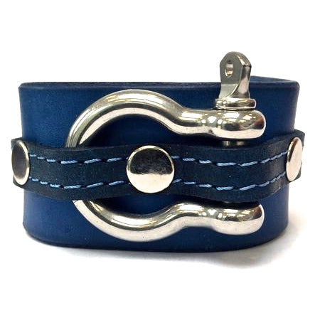 leather cuff with anchor shackle Ultramarine blue by nyet jewelry.