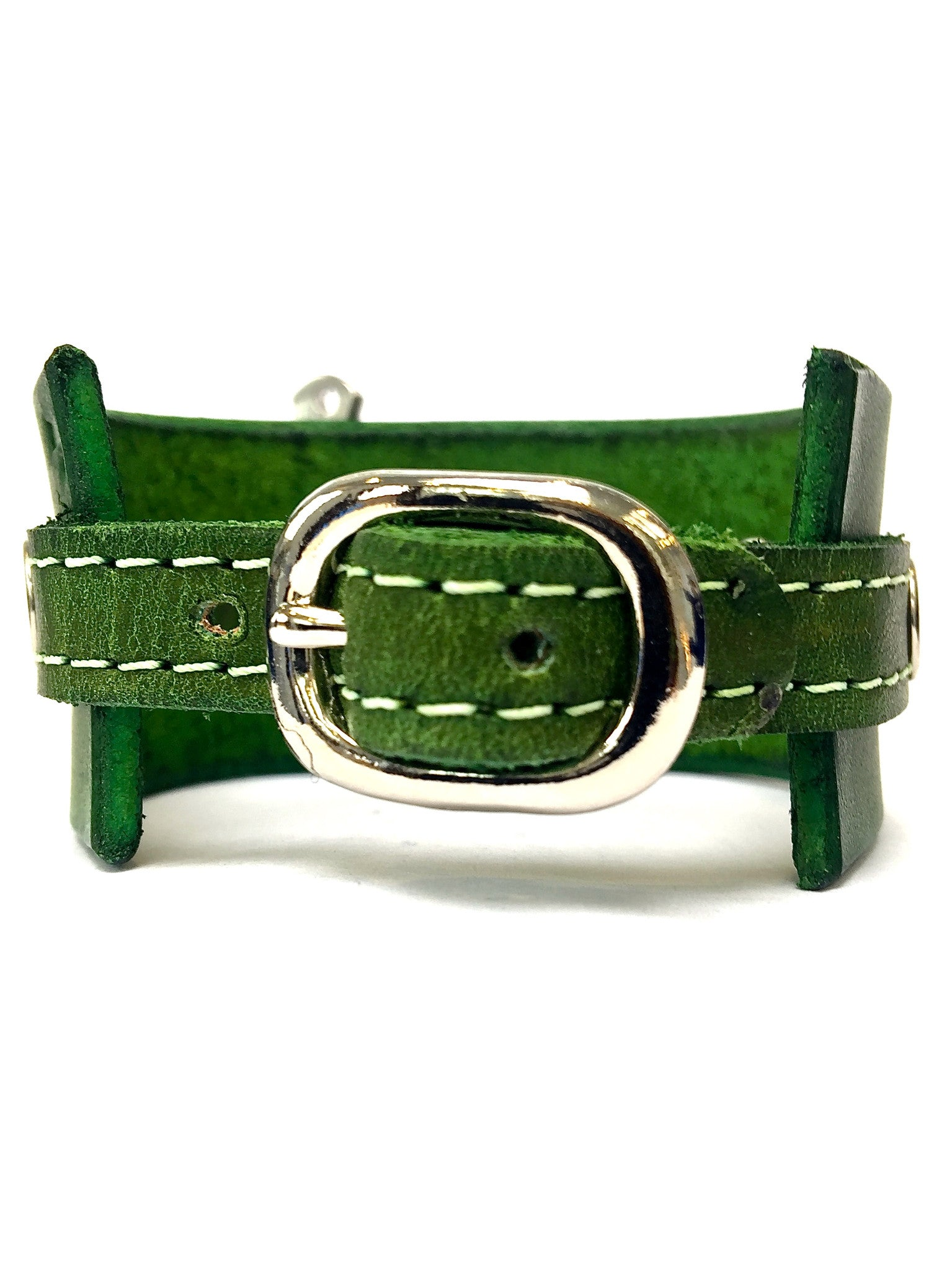 leather cuff with anchor shackle forest green by nyet jewelry.