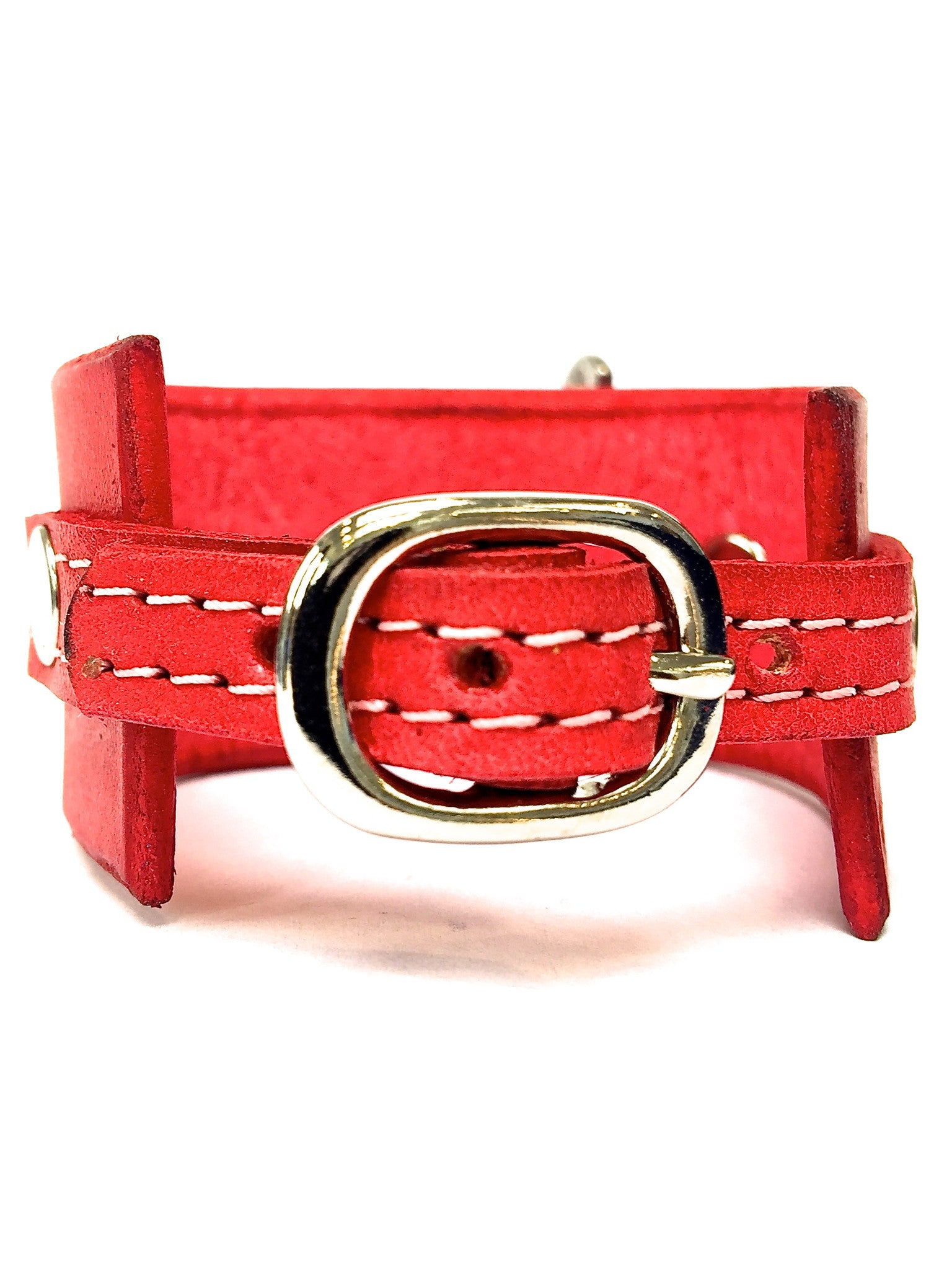 leather cuff with anchor shackle red by nyet jewelry.
