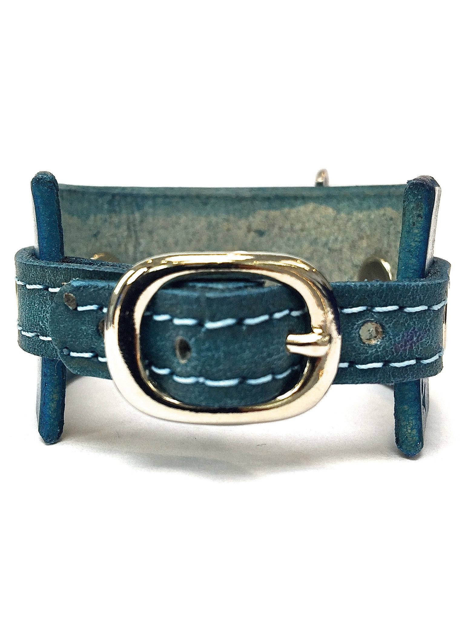 leather cuff with anchor shackle Dark Turquoise by nyet jewelry.