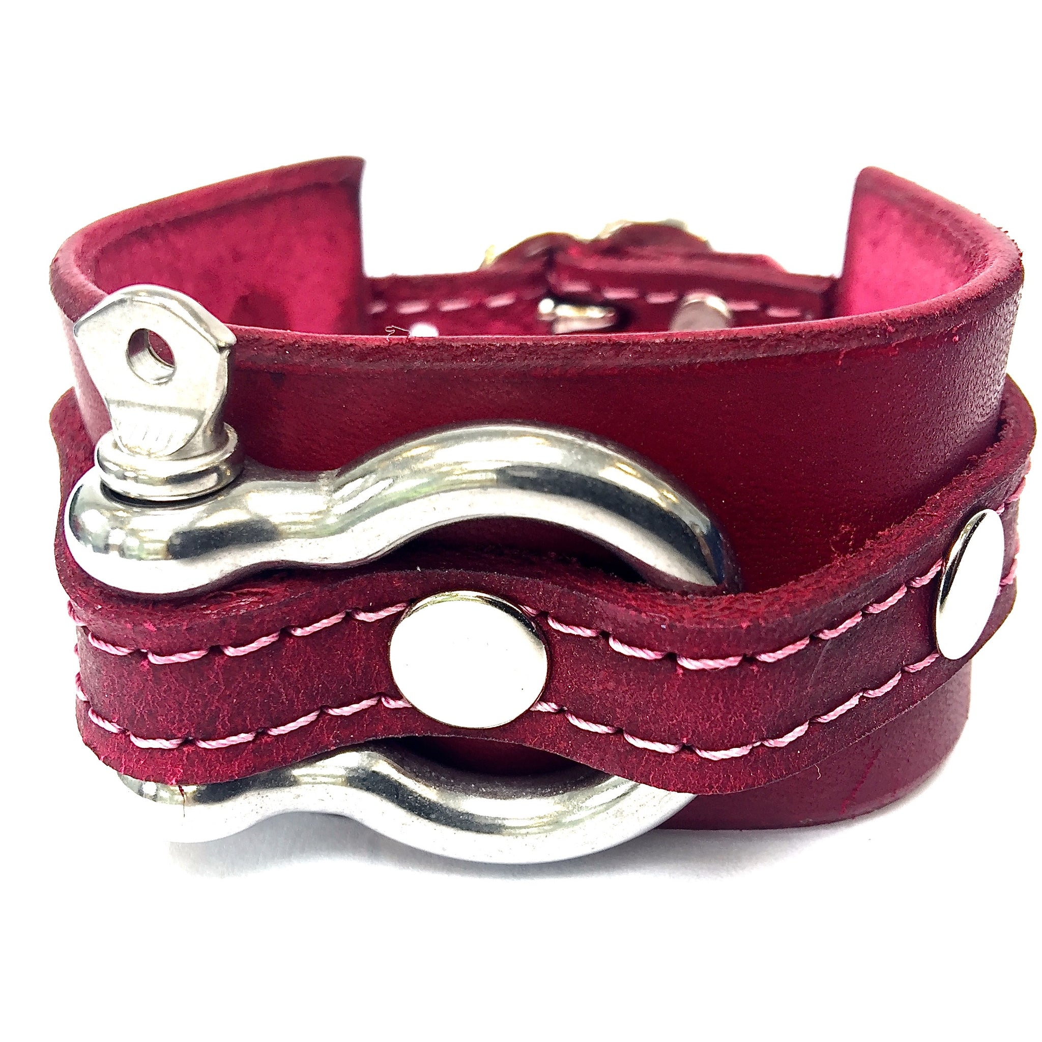 leather cuff with anchor shackle Raspberry by nyet jewelry.