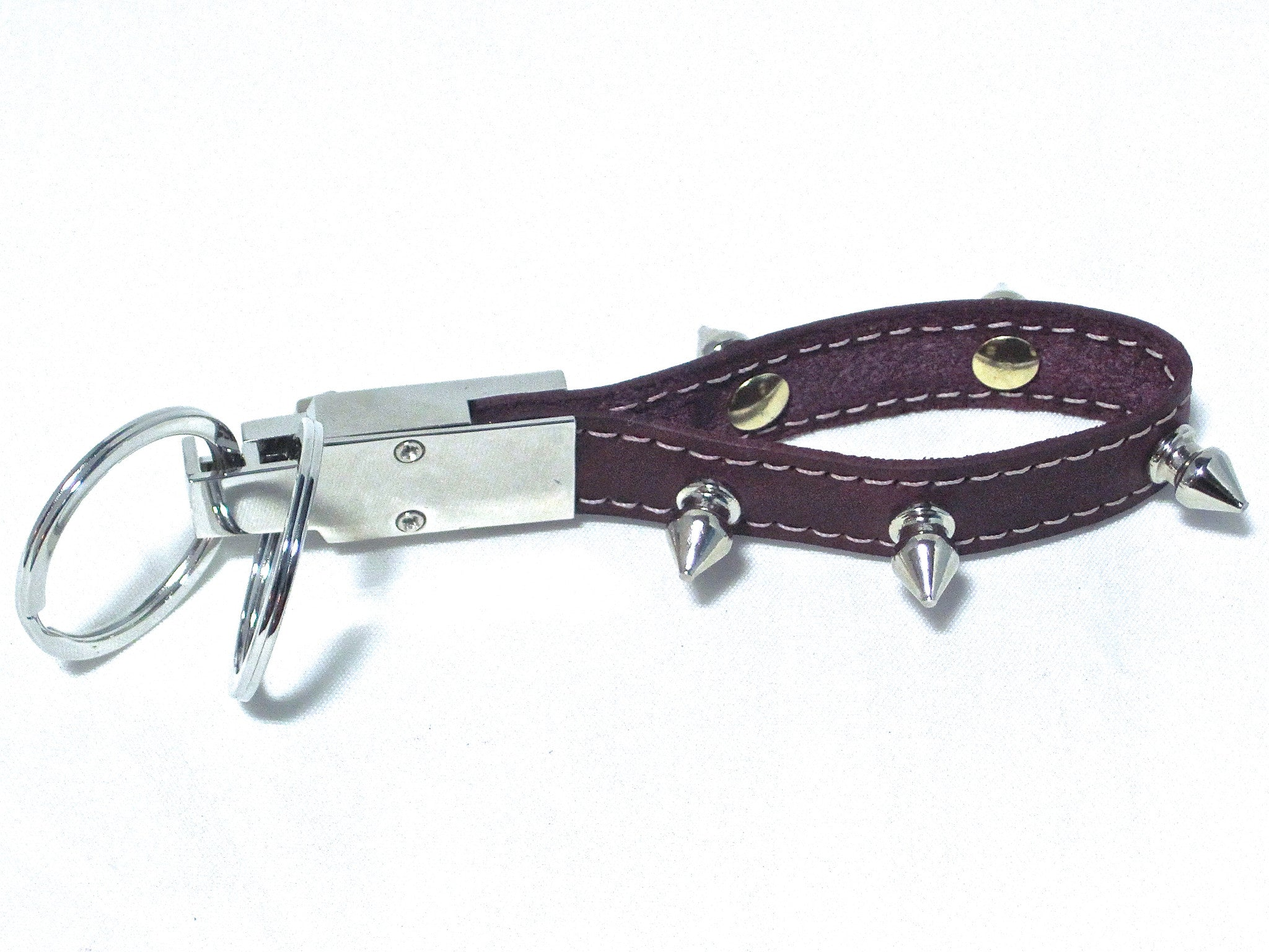 leather and spike rivets key chain by nyet jewelry.
