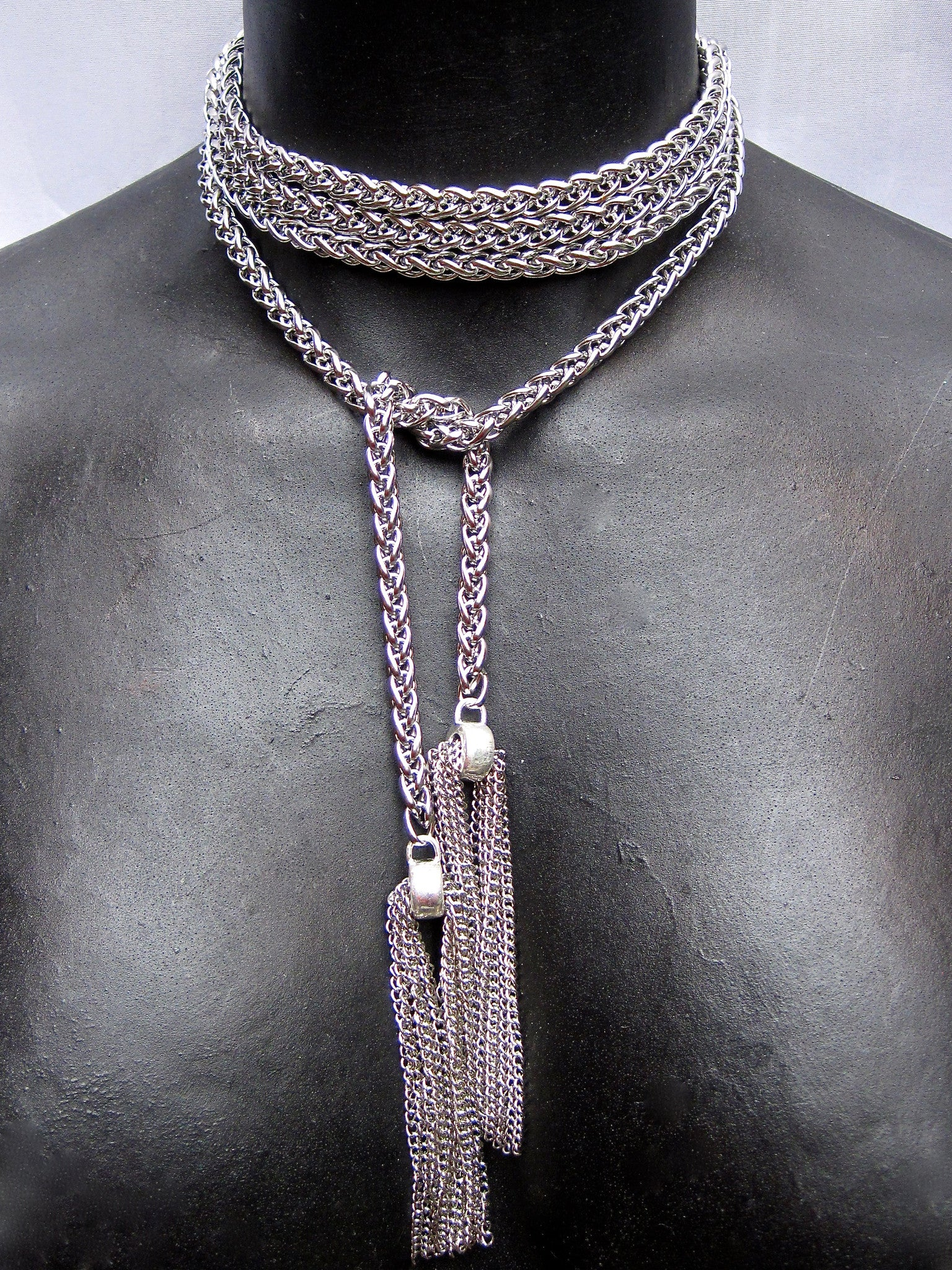 Extra Long Stainless Steel Lariat With Chain Tassels NYET Jewelry
