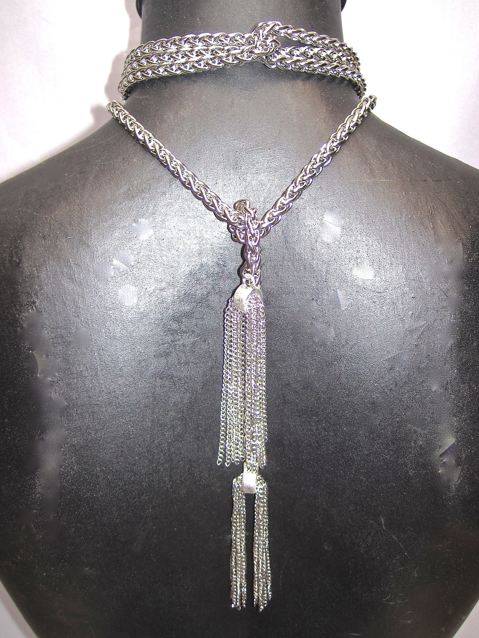 EXTRA LONG STAINLESS STEEL LARIAT NECKLACE WITH CHAIN TASSELS. by NYET Jewelry.