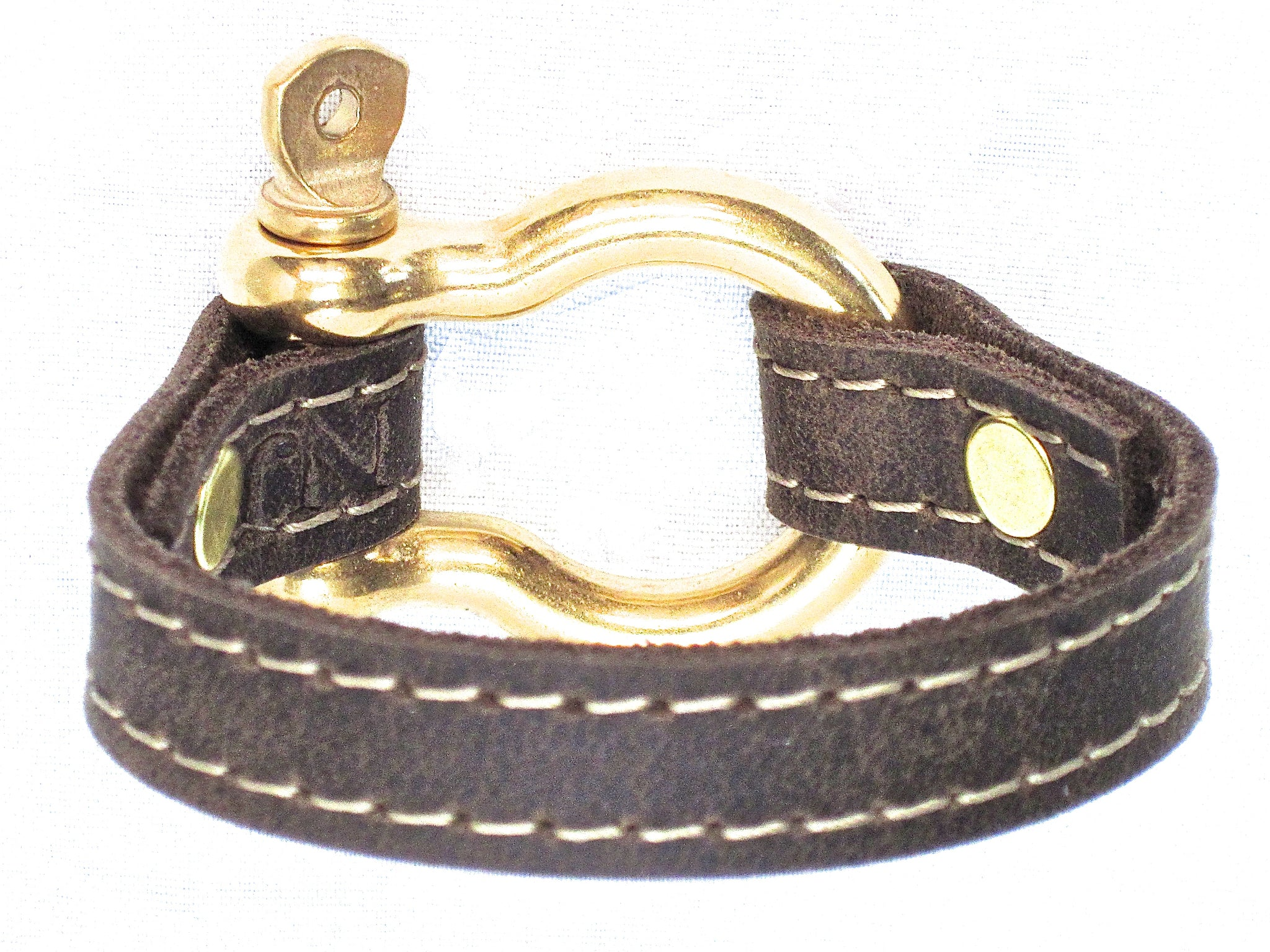 Nyet jewelry Signature Gold Bracelet Distressed Utility Leather by nyet jewelry