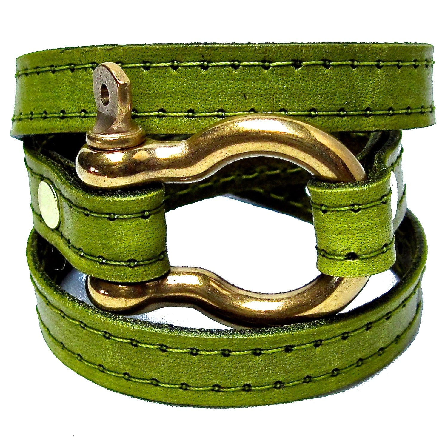 Nyet jewelry gold signature wraparound leather bracelet chartreuse BY NYET JEWELRY