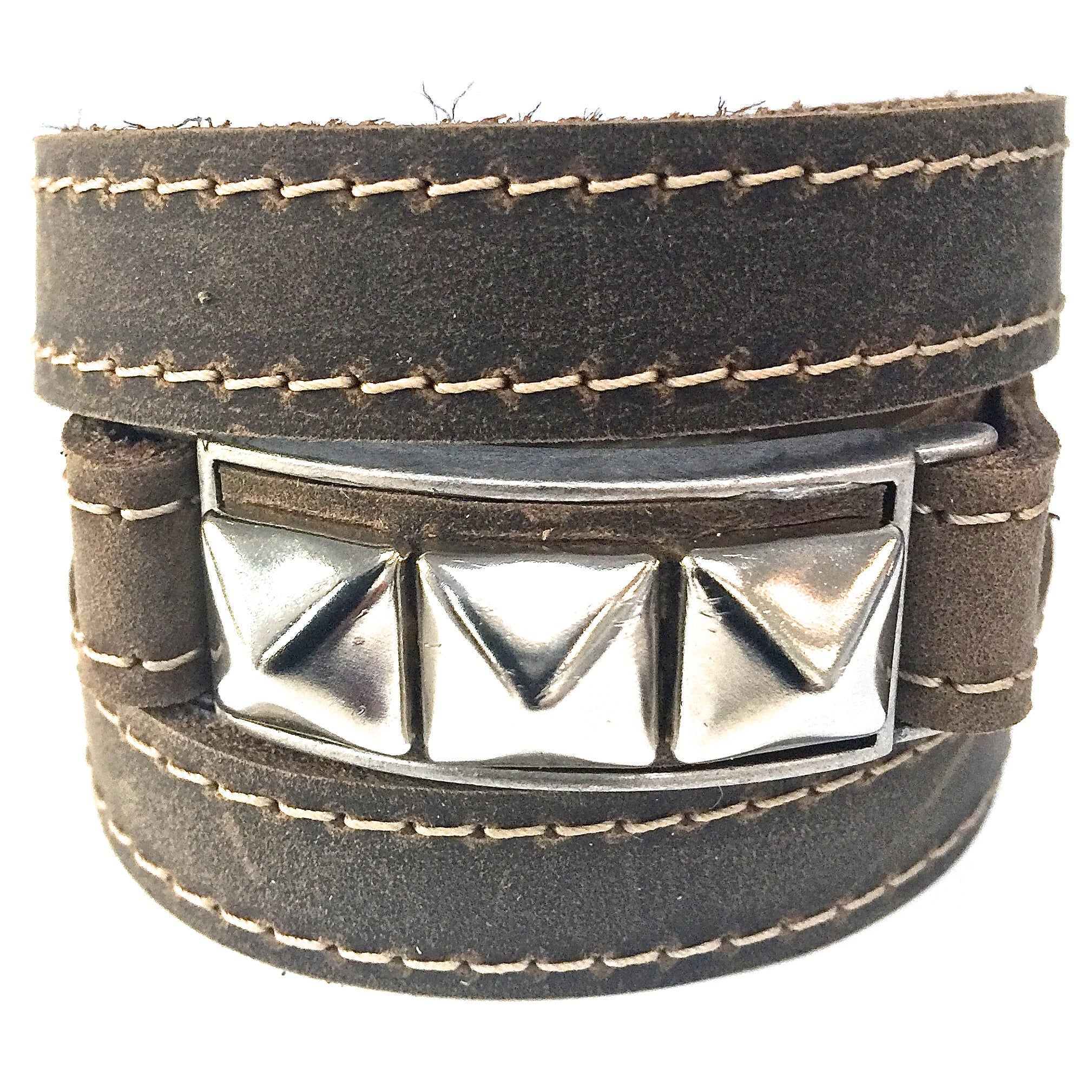 Riveted Distressed Utility Leather Wraparound Bracelet
