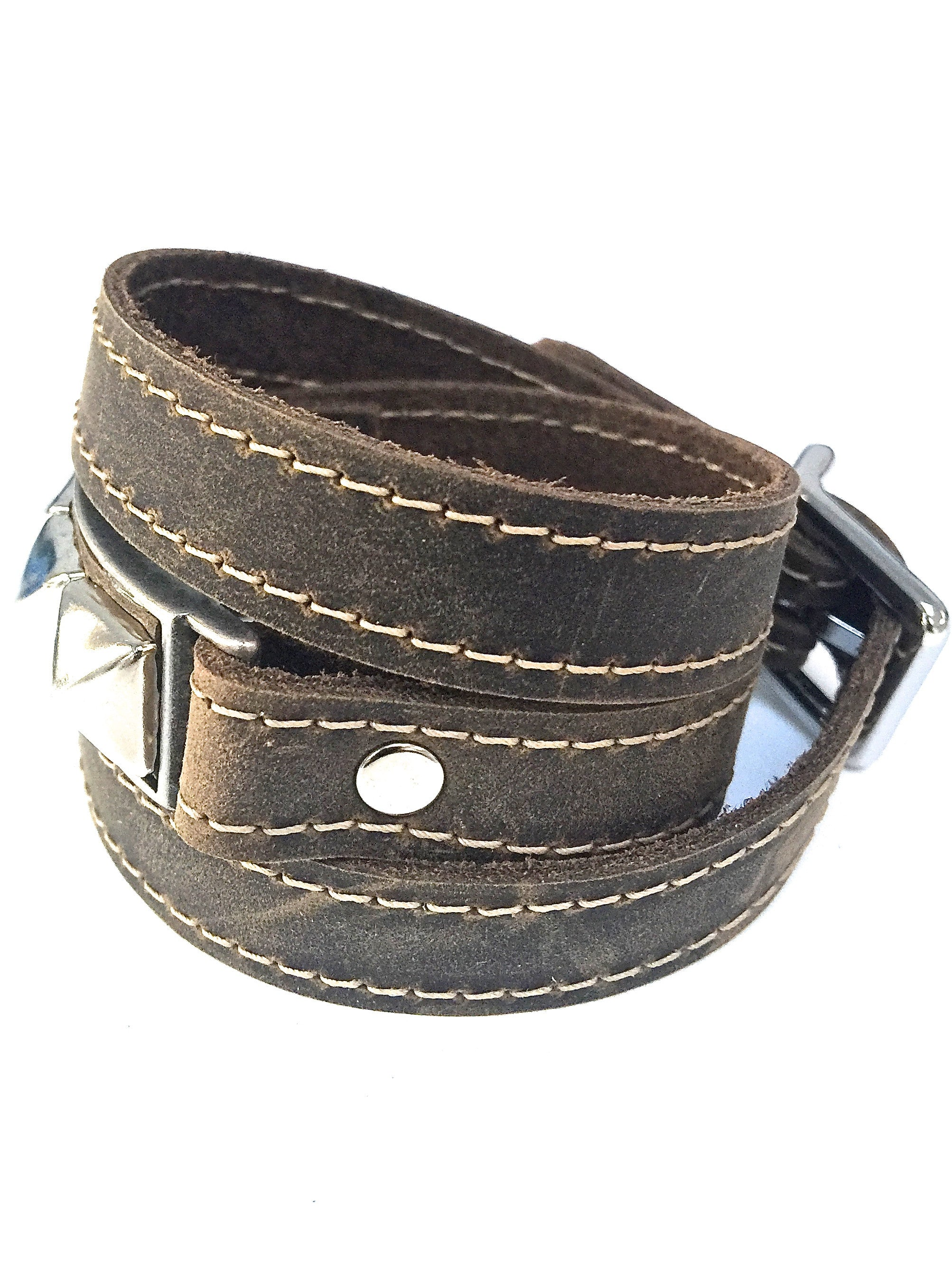 Riveted Distressed Utility Leather Wraparound Bracelet    Apps   Save
