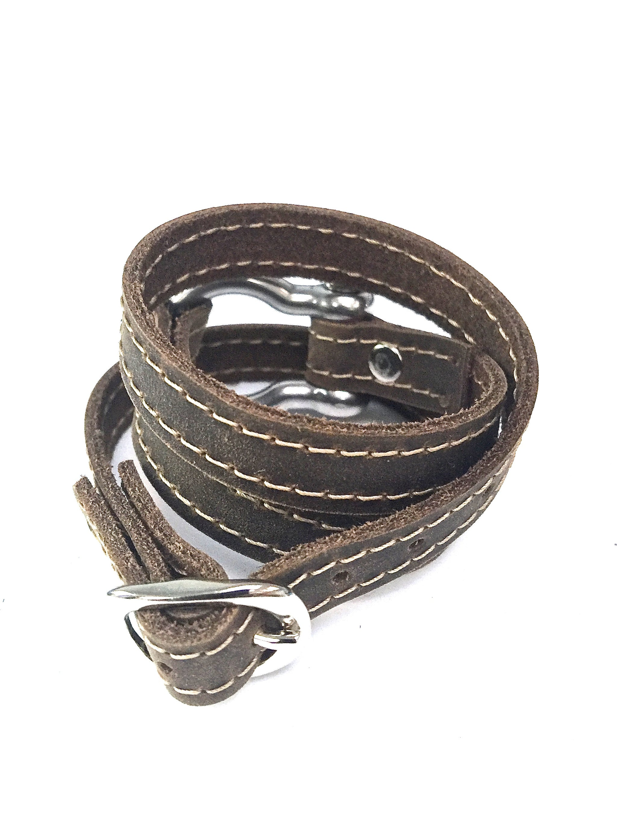Signature Shackle Wraparound Bracelet Distressed Utility Leather