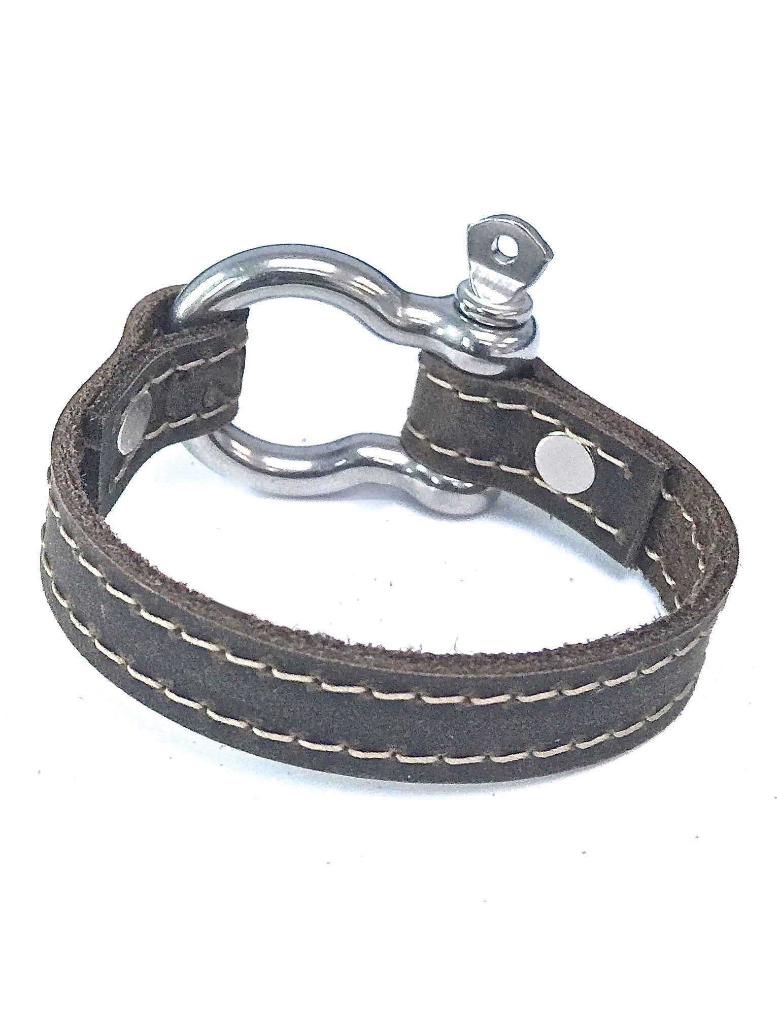 Signature leather bracelet with shackle distressed utility leather