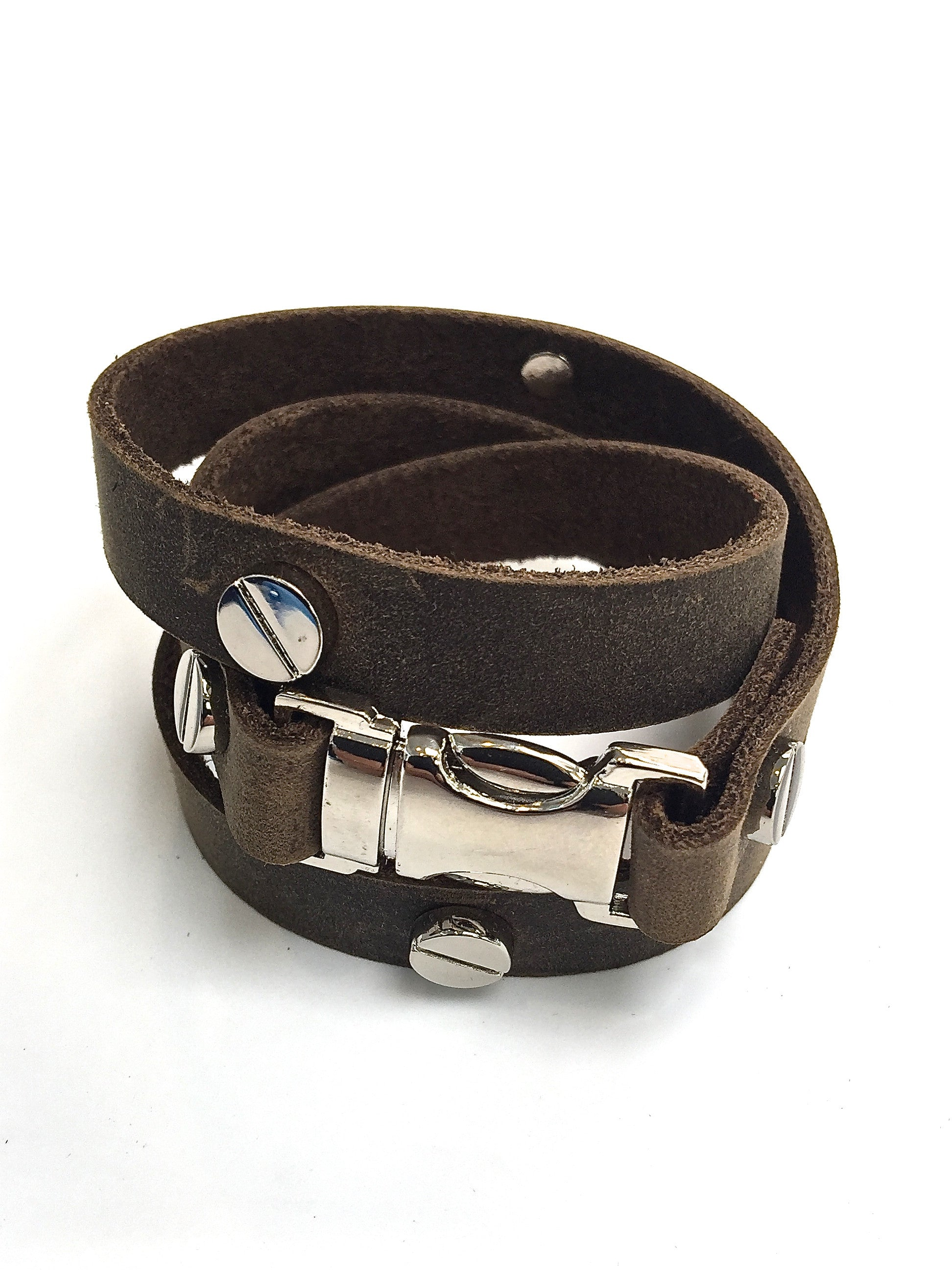 Quicksnap triple leather wraparound bracelet distressed utility by NYET jewelry leather