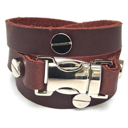 Quicksnap triple leather wraparound bracelet distressed utility leather by NYET jewelry