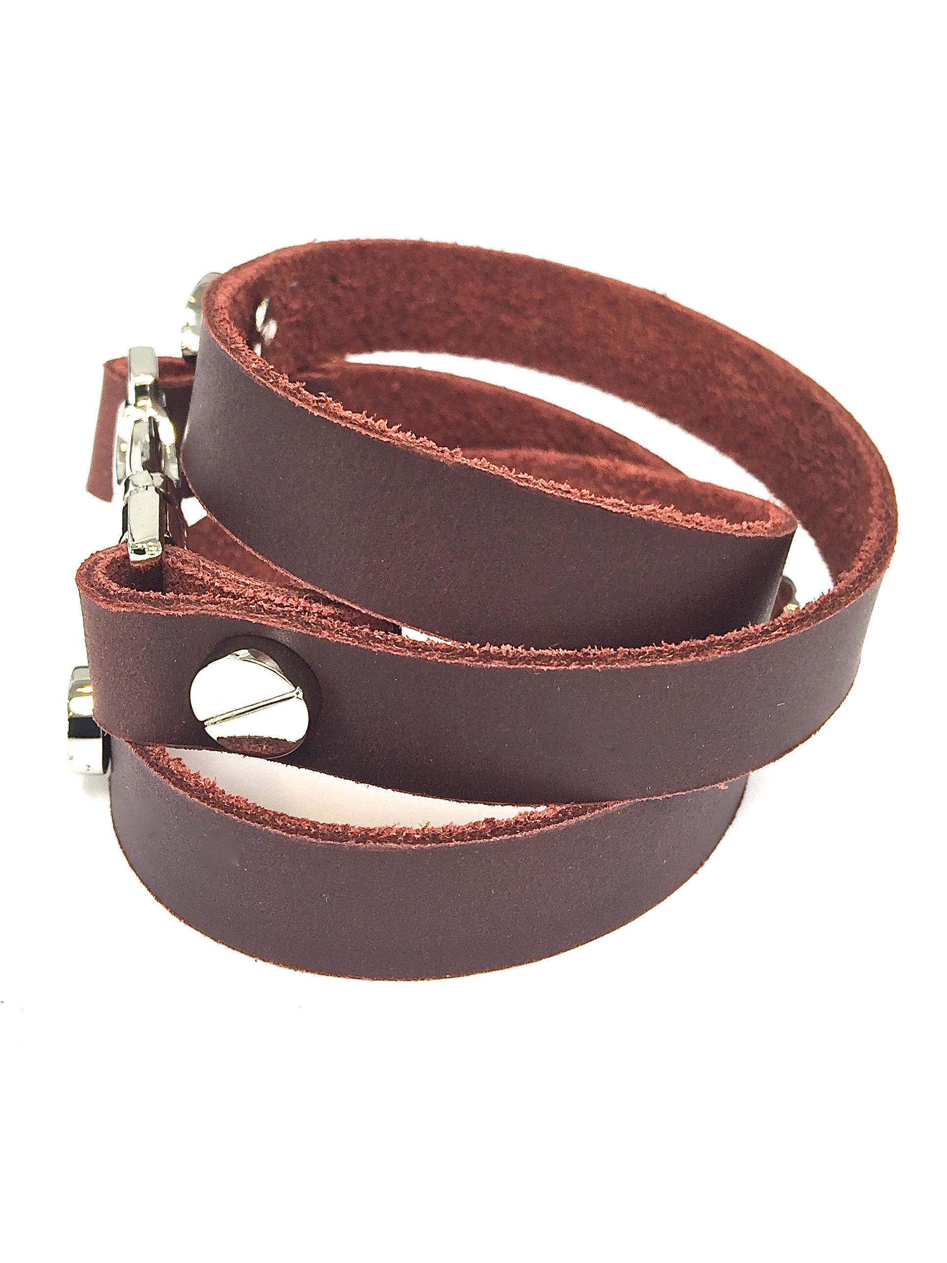 Quicksnap triple leather wraparound bracelet brown by NYET jewelry