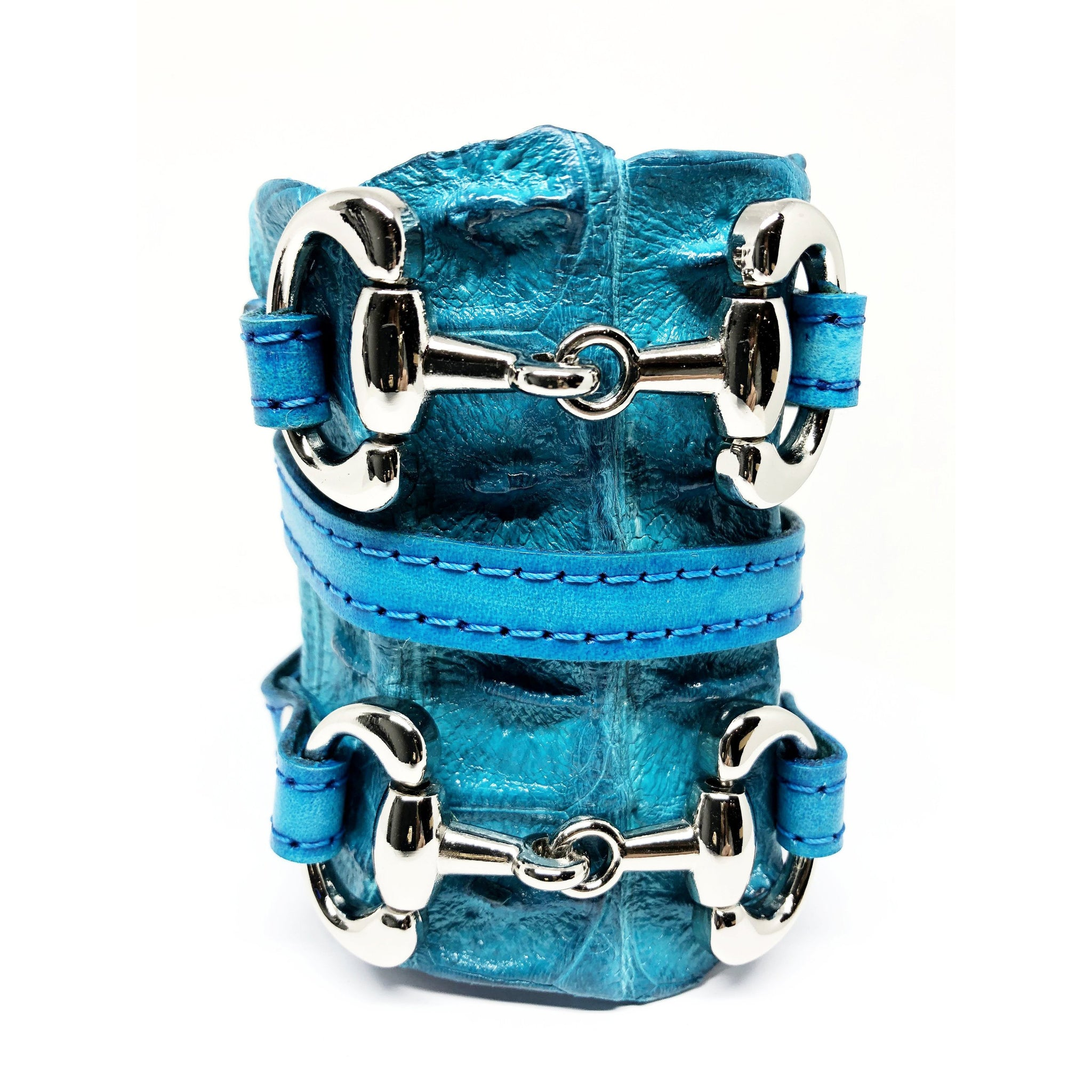 FARM-RAISED CROCODILE LEATHER CUFF WITH 2 D-RING HORSE BITS AND ADJUSTABLE BUCKLE. By Nyet Jewelry