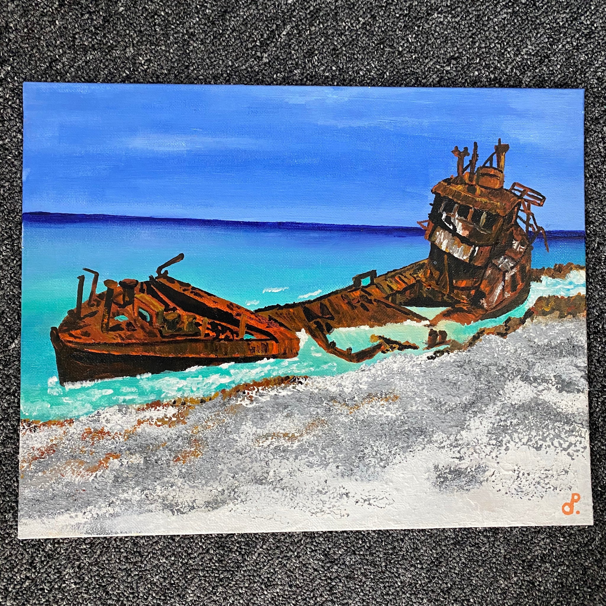 BIMINI'S WRECK PAINTING by D pontvieux