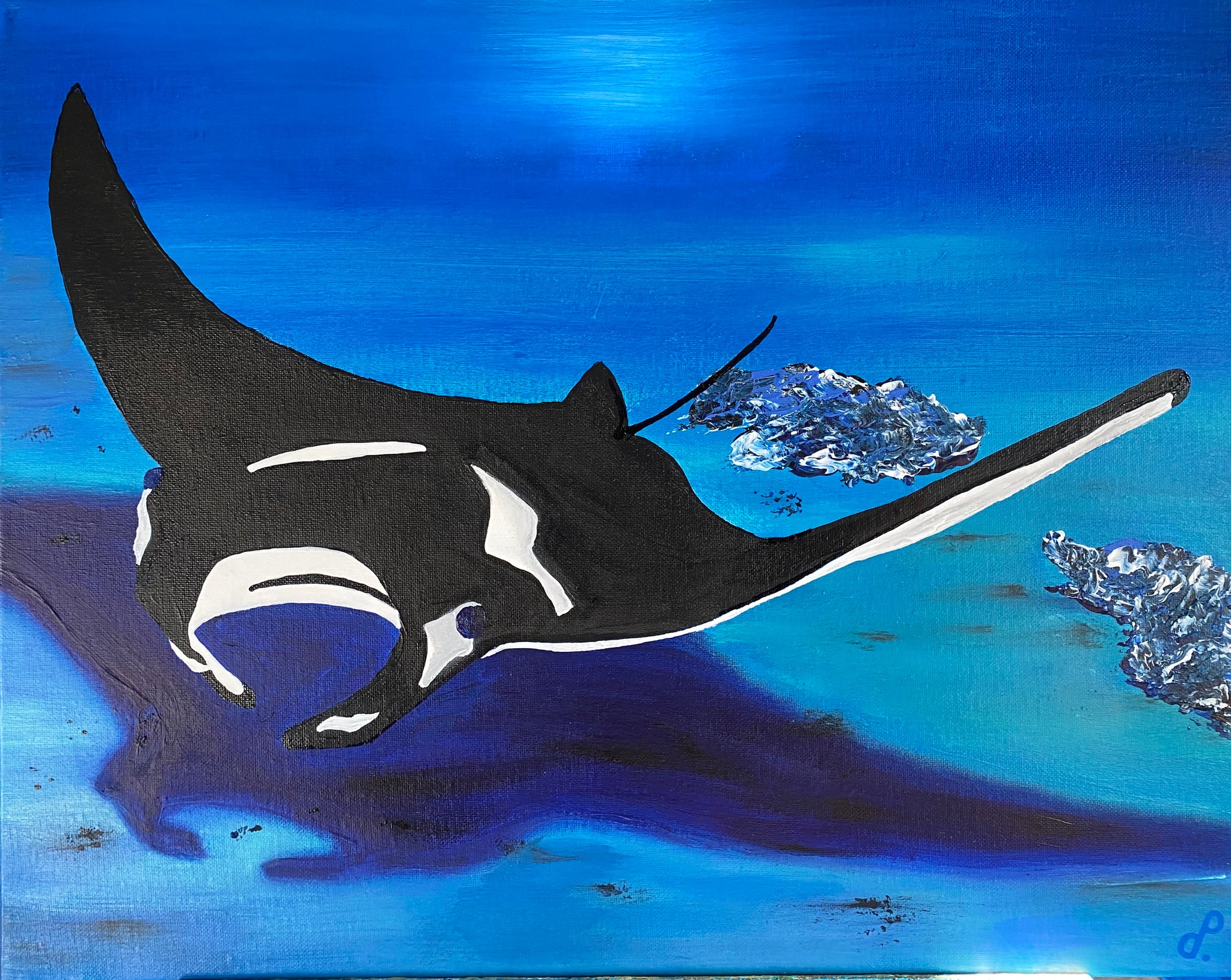Manta ray acrylic painting by D Pontvieux