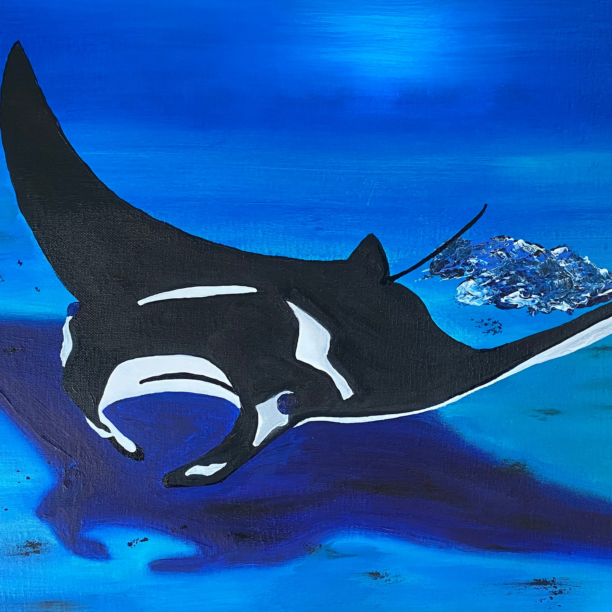 Manta ray acrylic painting by D Pontvieux close up
