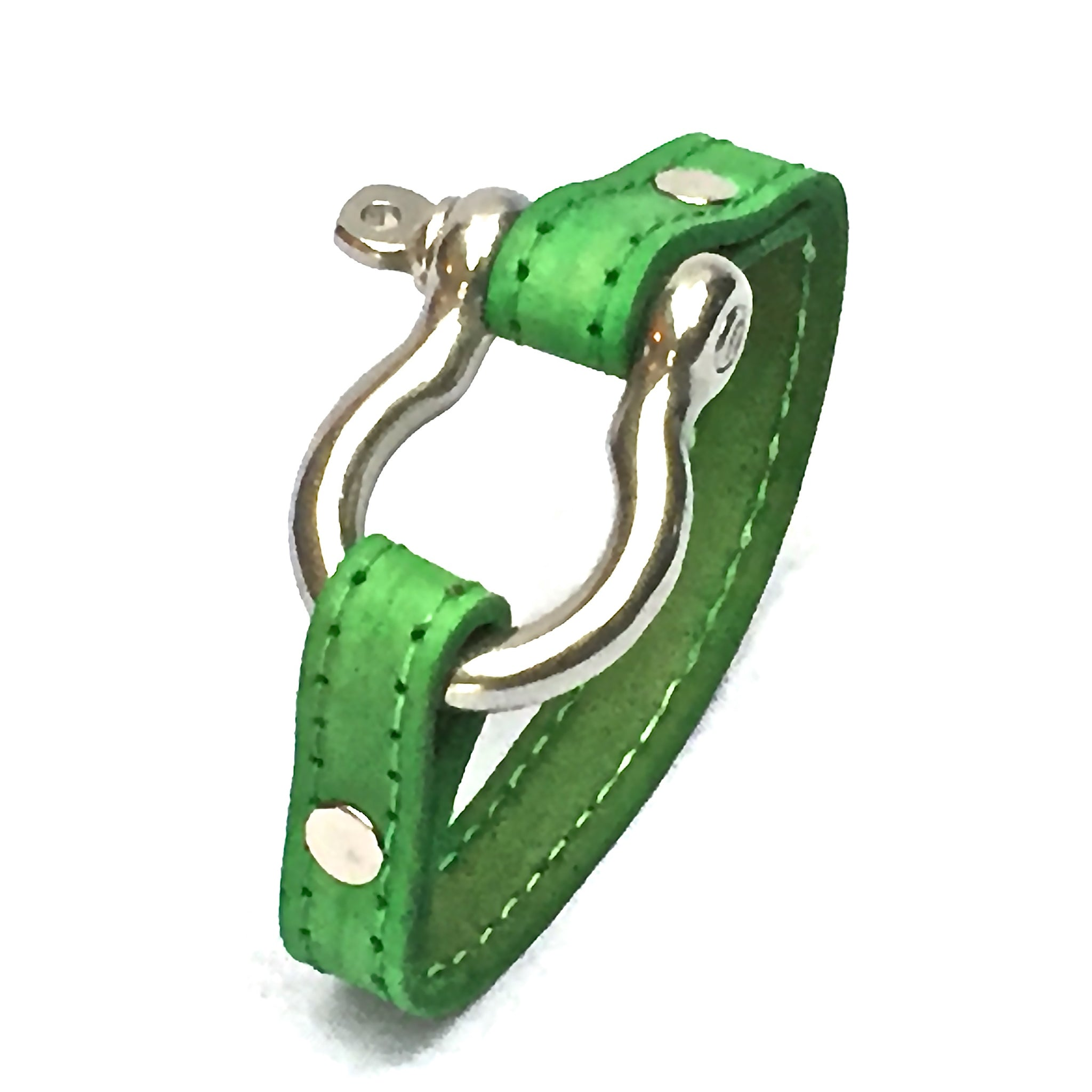 STITCHED LEATHER AND STAINLESS STEEL SHACKLE by nyet jewelry.