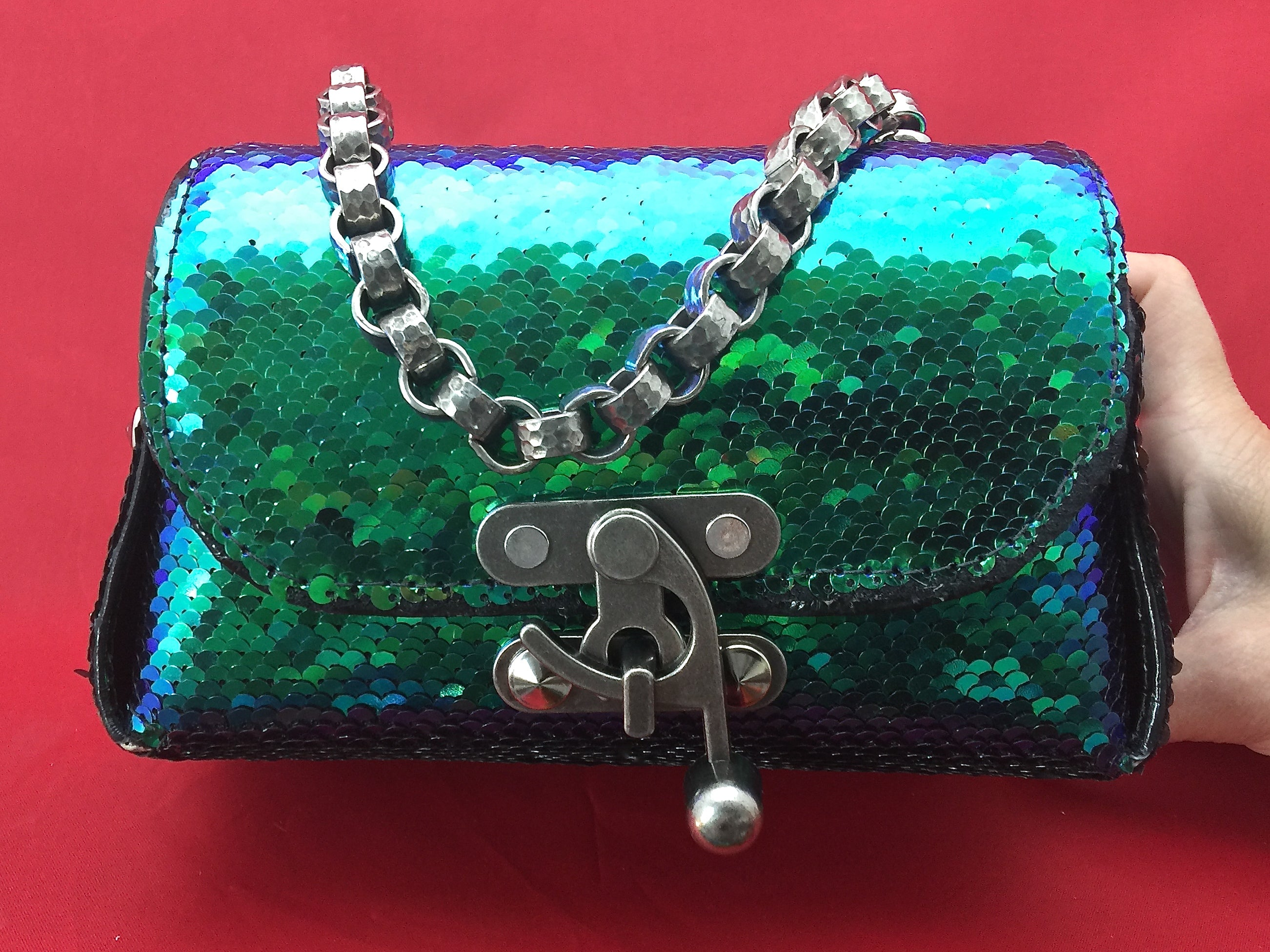 aae905024f98 ... Nyet Jewelry The Siren Call leather and sequins lunch box evening bag  Silver