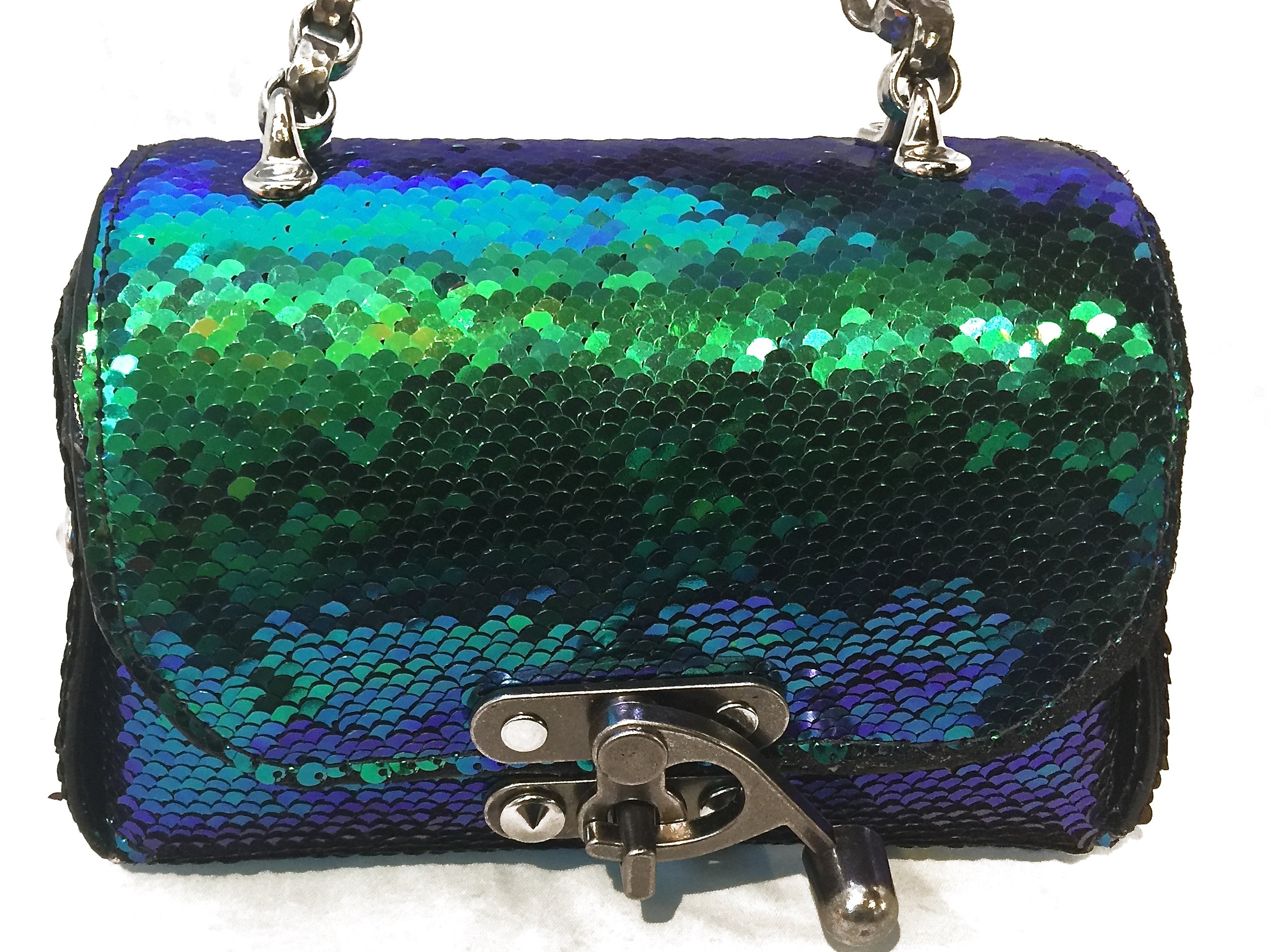 4cfdda5d57bd Nyet Jewelry The Siren Call leather and sequins lunch box evening bag Silver  ...