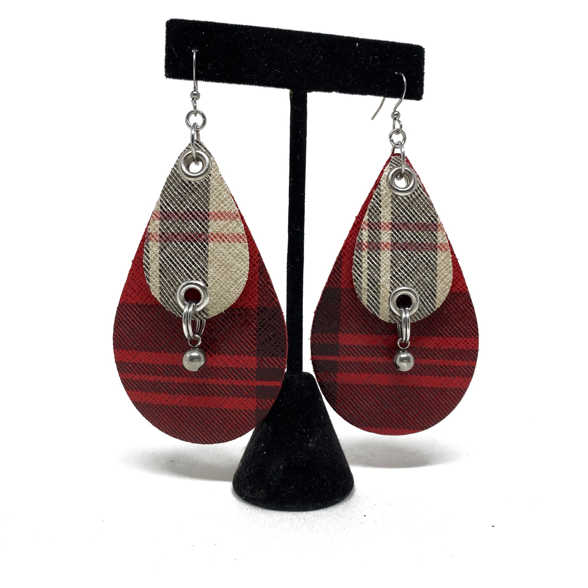 Plaid leather earrings by NYET Jewelry