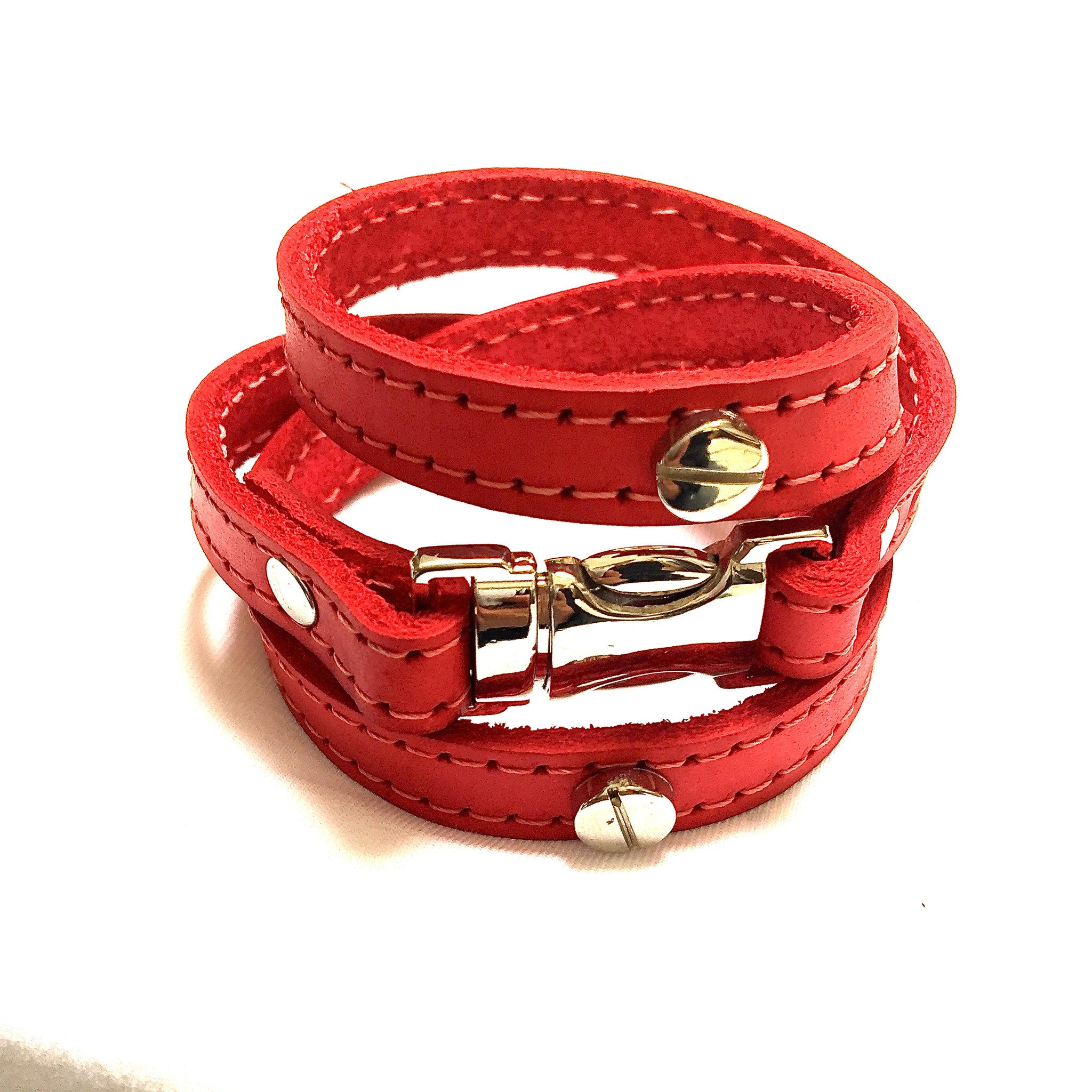 Quicksnap wraparound bracelet stitched leather
