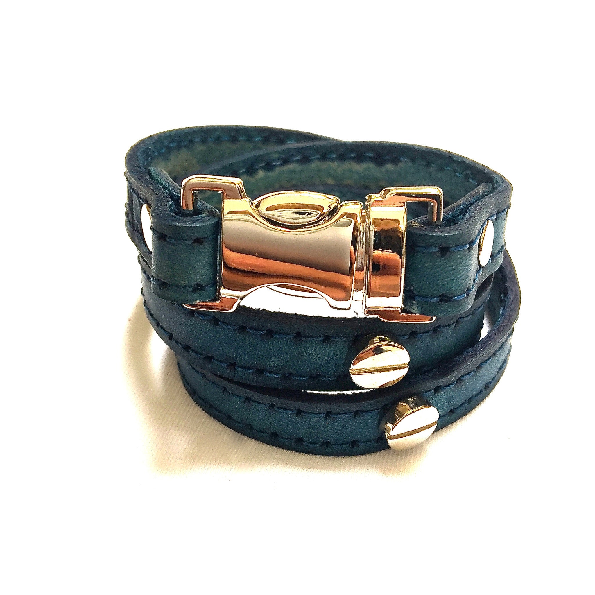 TRIPLE WRAPAROUND LEATHER BRACELET WITH SQUEEZE CLASP BUCKLE AND SCREW TOP RIVETS by nyet jewelry.